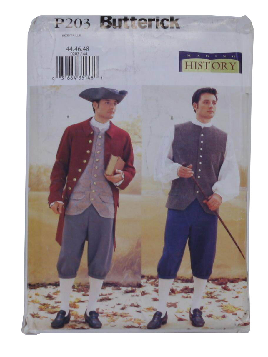 Butterick Historical Costume coat, Vest, Shirt, Trousers And Hat