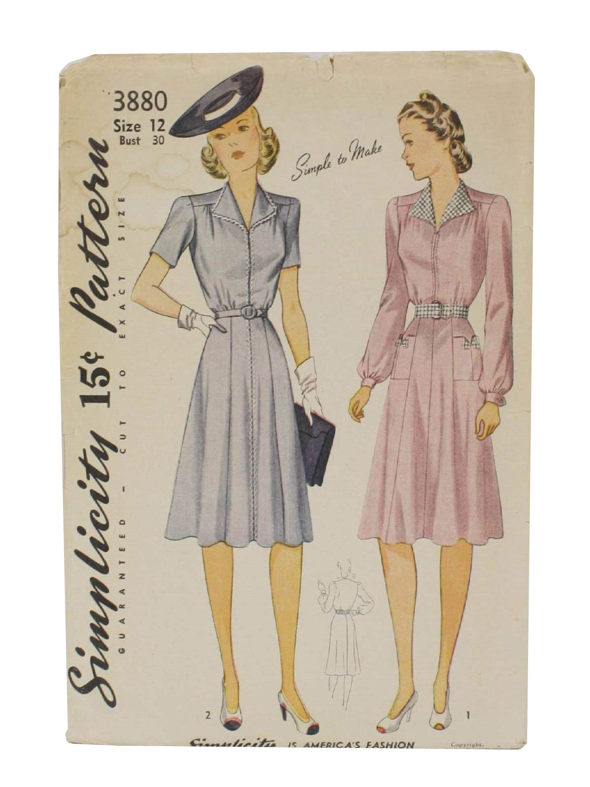 40s Retro Sewing Pattern: 1941 -Simplicity Pattern No