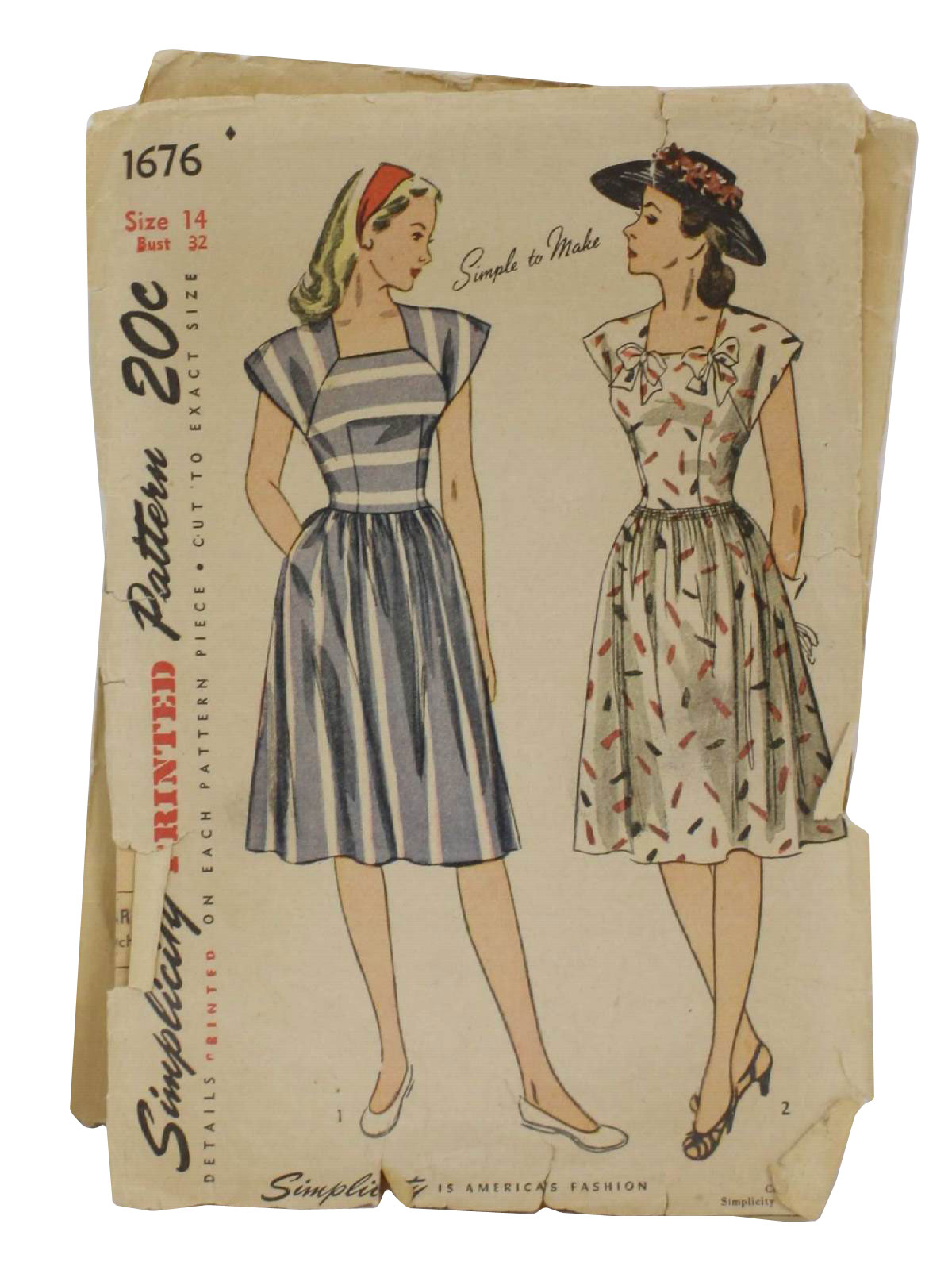 1940 S Sewing Pattern 1946 Simplicity Pattern No 1676