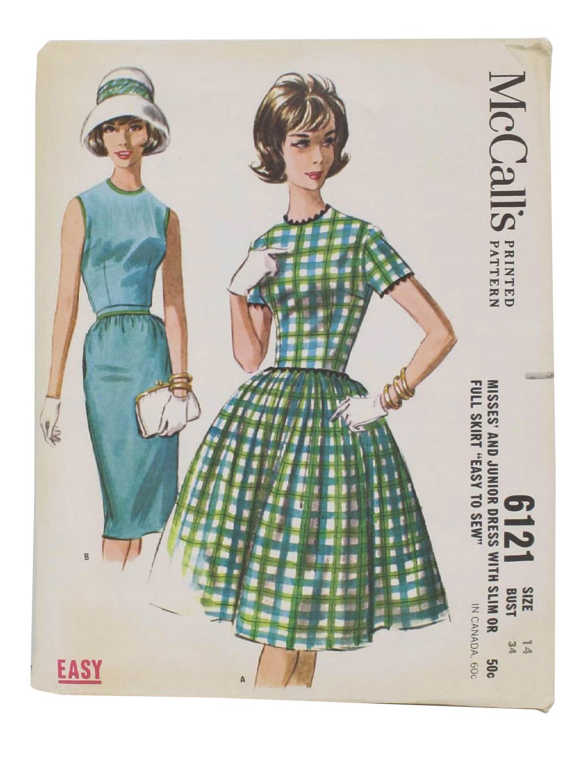 Vintage Mccalls Pattern No 6121 Sixties Sewing Pattern