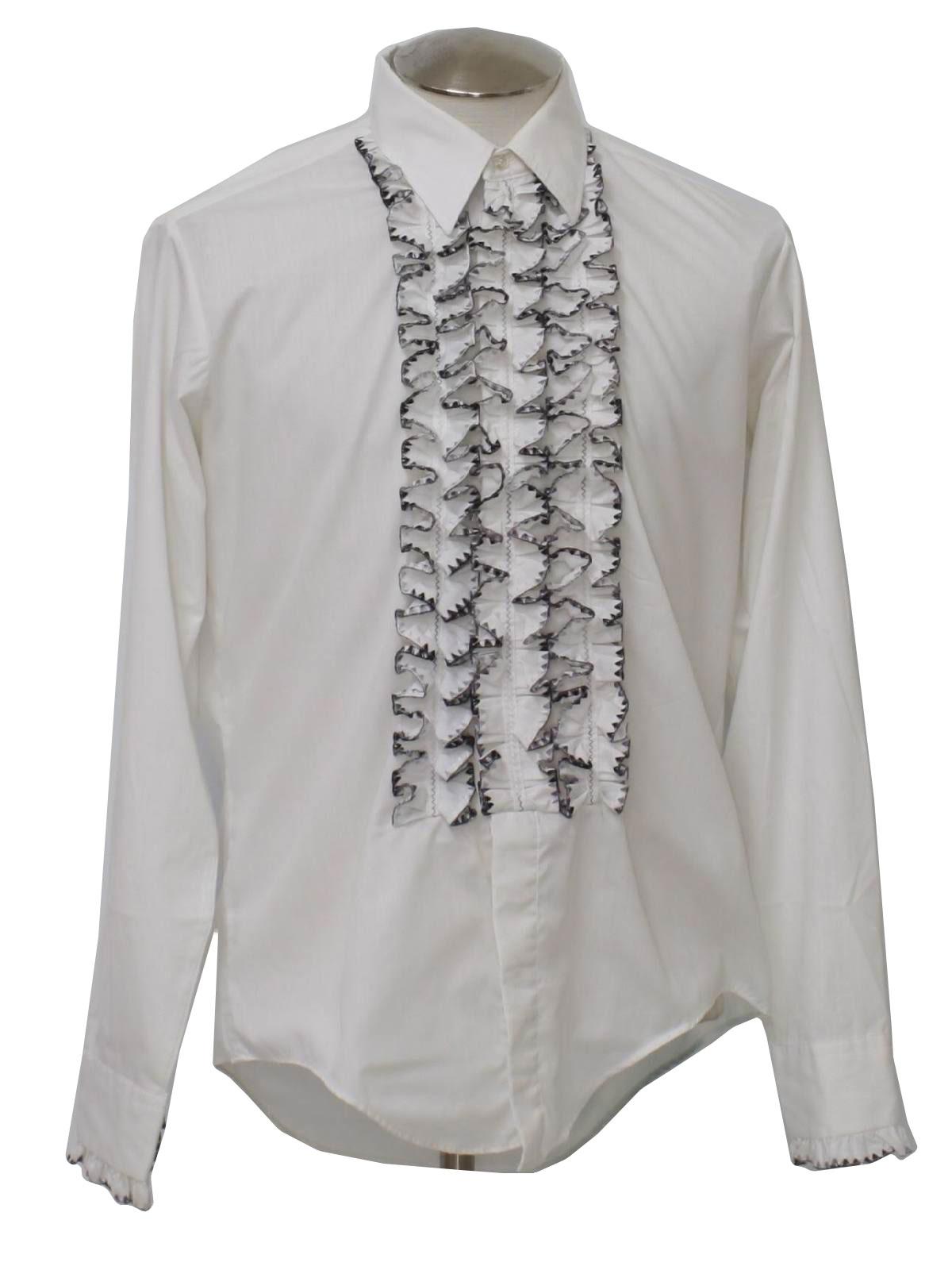 Mens White Ruffle Shirt