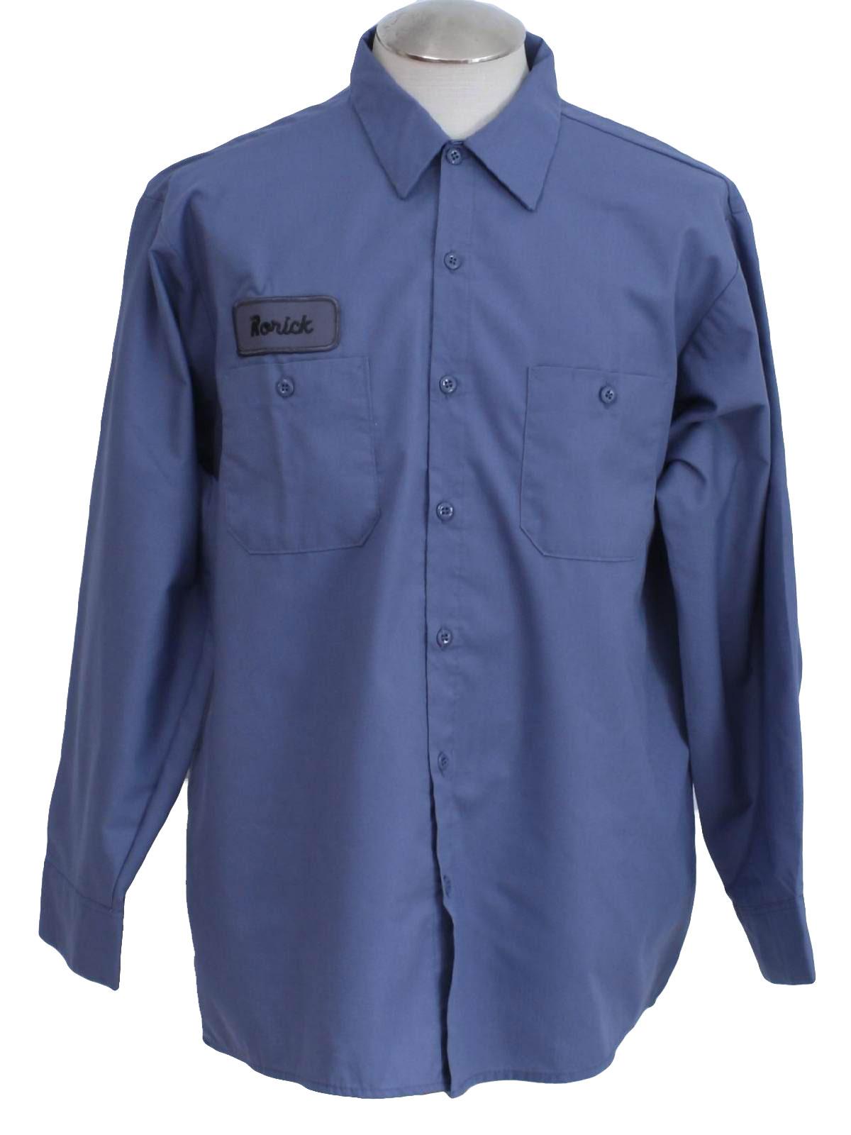 Cintas 1990s vintage shirt 90s cintas mens slate blue for Blue cotton work shirts