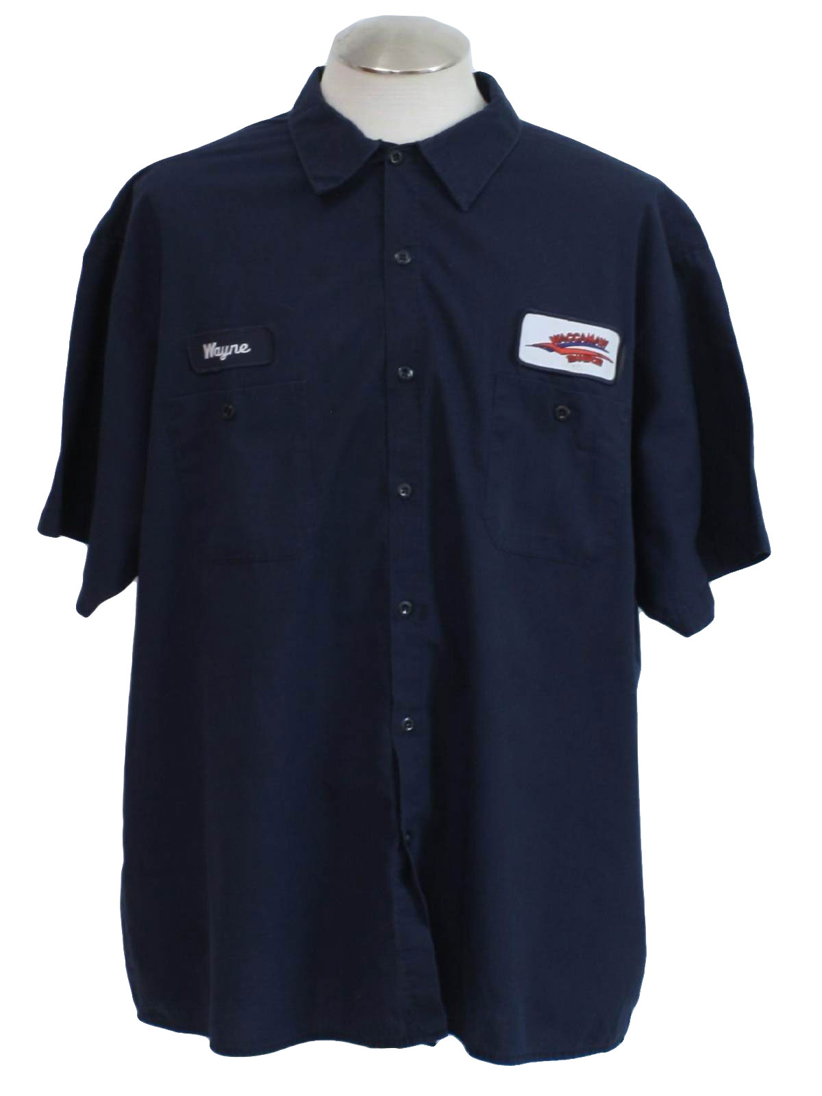 1990 39 s vintage cintas shirt 90s cintas mens navy blue for Blue button up work shirt
