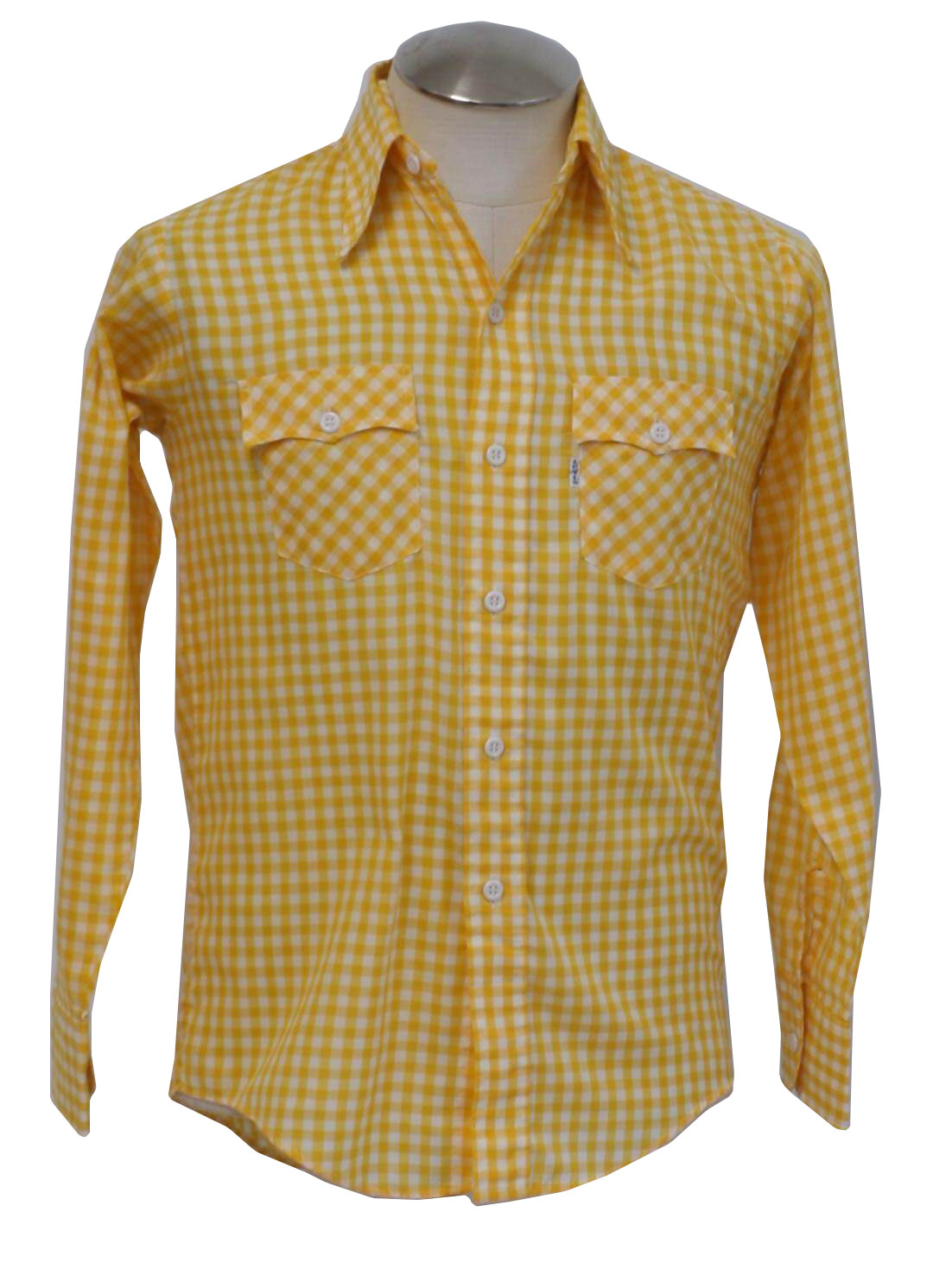Vintage 1970 39 s western shirt 70s levis mens yellow and for Mens yellow gingham shirt