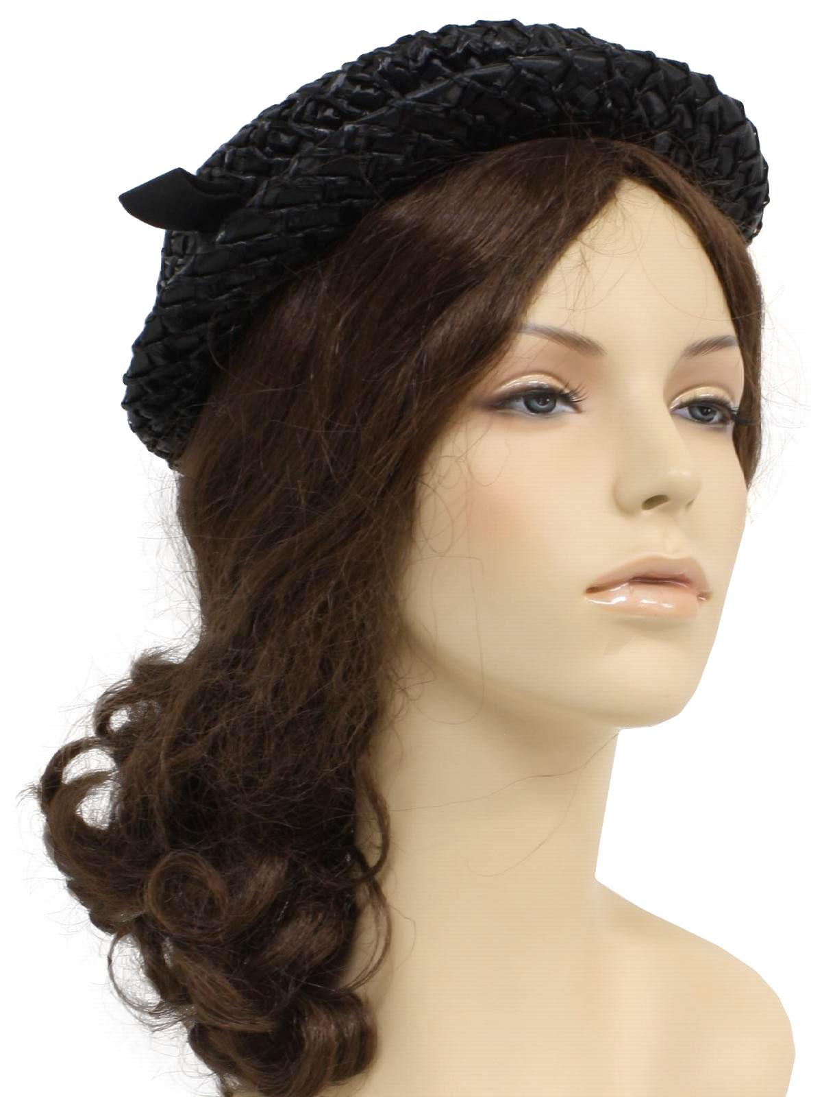 Retro 1950's Hat (Jan Leslie) : late 50s -Jan Leslie- Womens black background woven straw thin ...