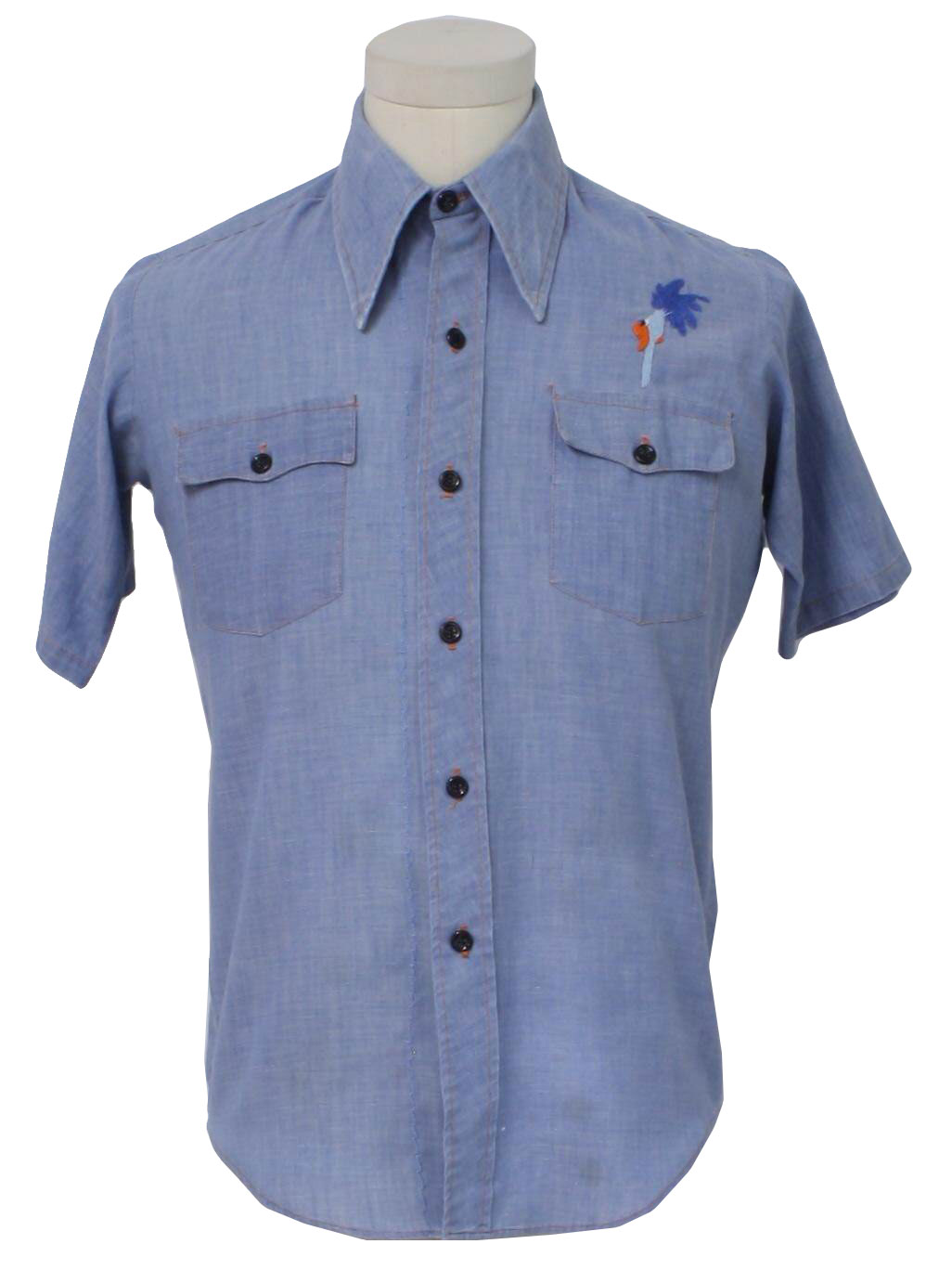 70s vintage towncraft hippie shirt 70s towncraft mens for Blue cotton work shirts
