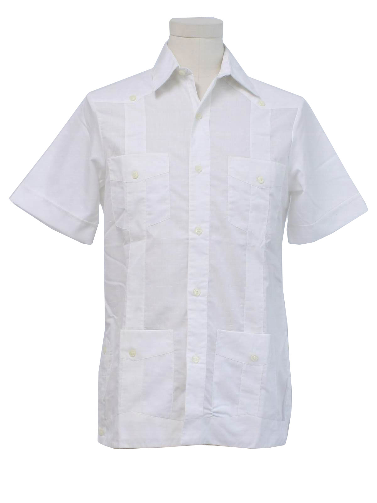 80 39 s vintage guayabera shirt 80s d lujo mens crisp for Crisp white cotton shirt