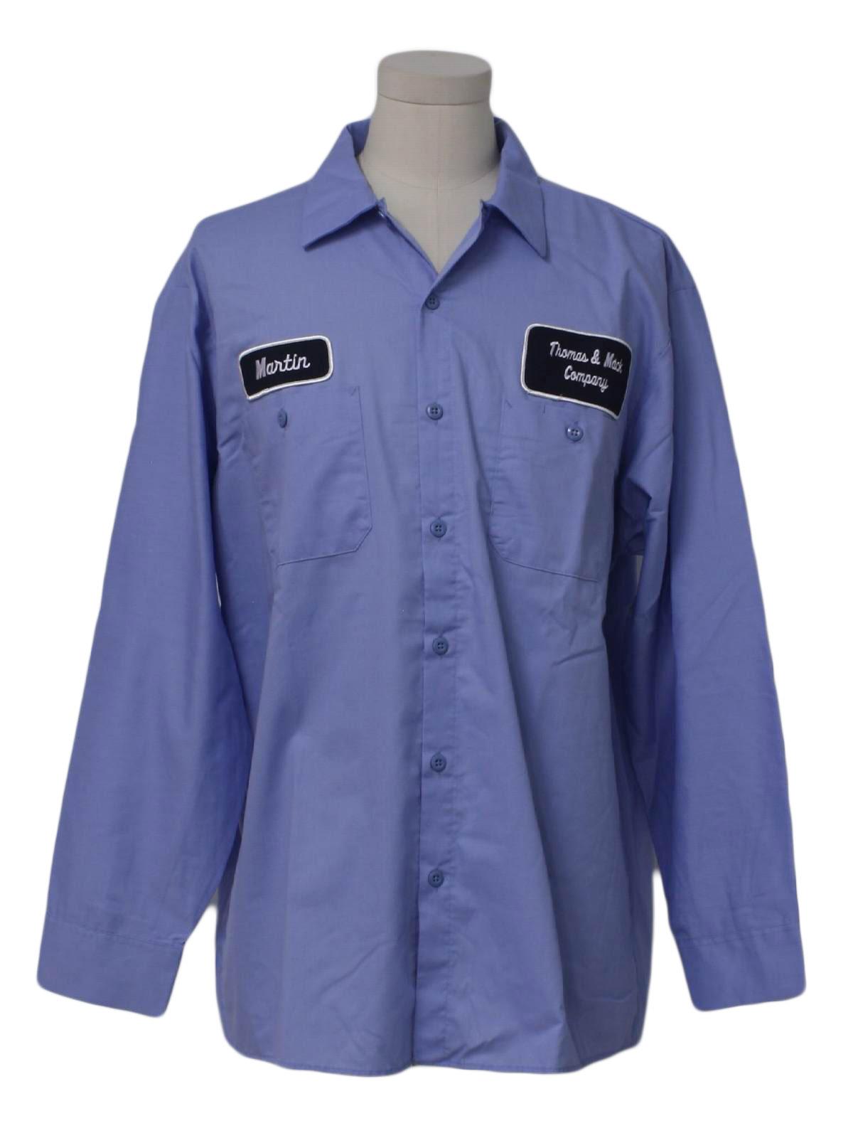 Retro 1990 39 s shirt cintas 90s cintas mens baby blue for White cotton work shirts
