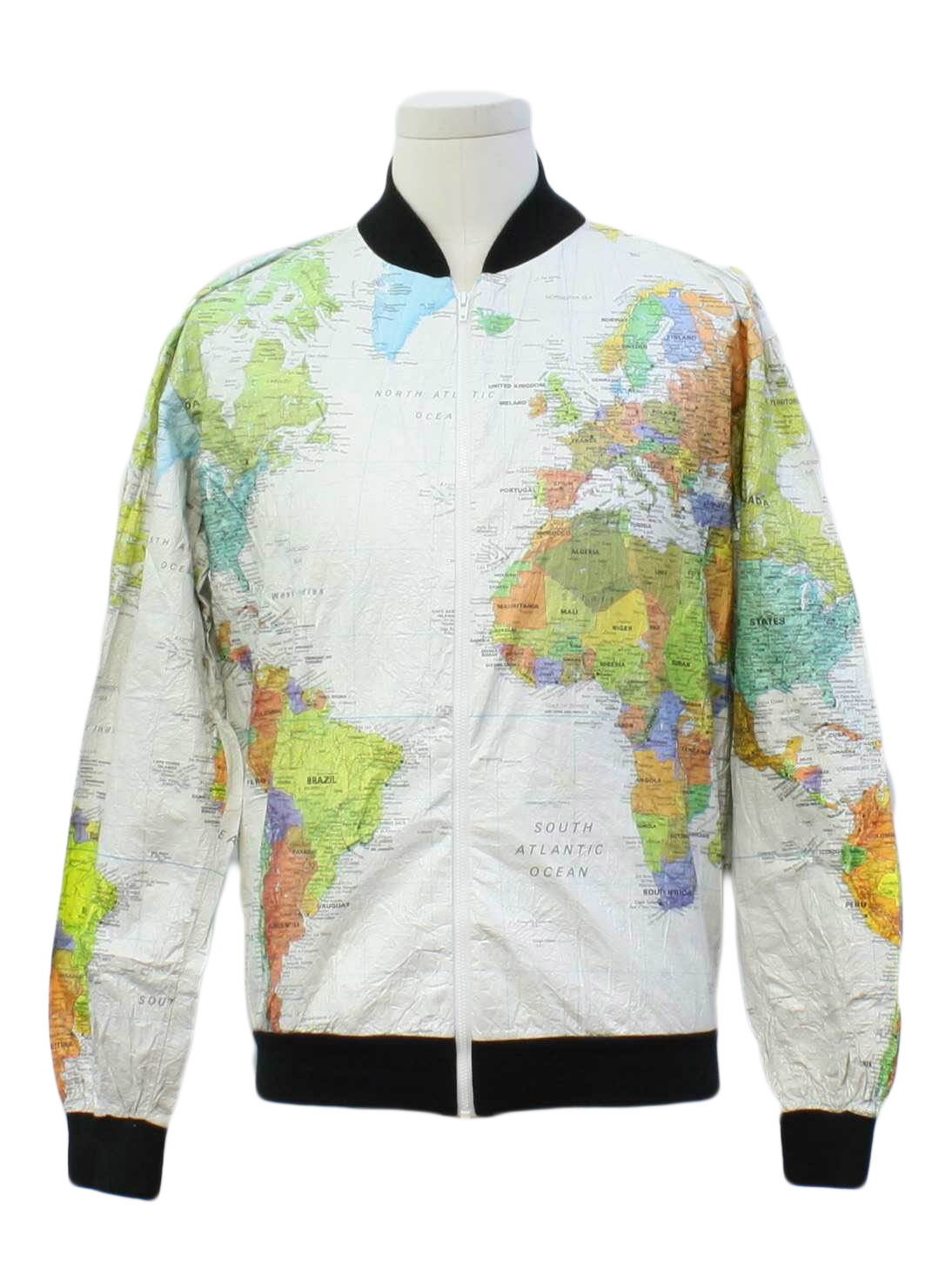 1980s jacket wearin the world 80s wearin the world mens white 1980s jacket wearin the world 80s wearin the world mens white background made in the usa world map print tyvek paper jacket with black rounded stand gumiabroncs Gallery