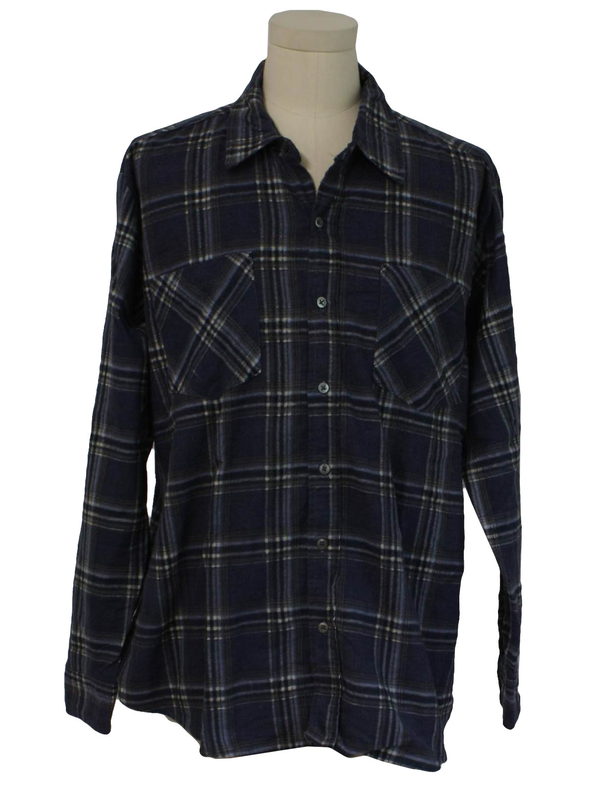 Nineties haband shirt 90s haband mens slate blue off for Polyester lined flannel shirts
