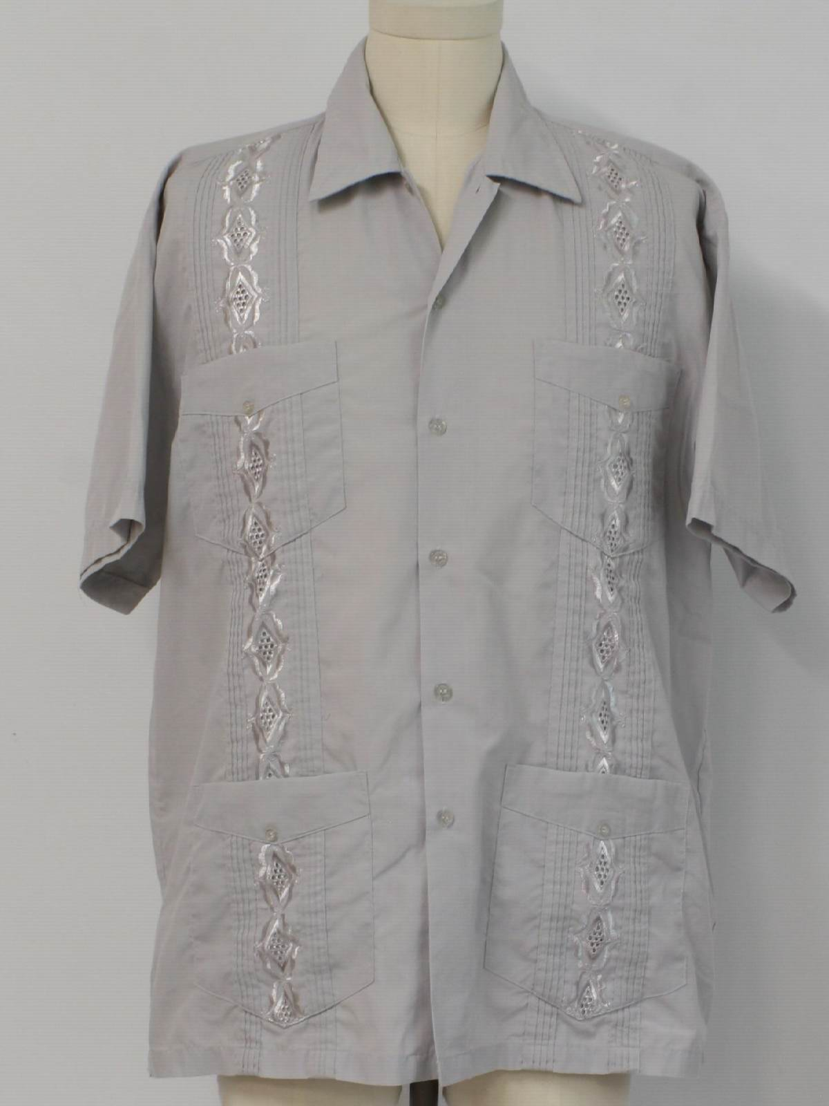 ba180a5f6a 80s guayabera shirt chic elegant 80s chic elegant mens light grey cotton  polyester short sleeve guayabera