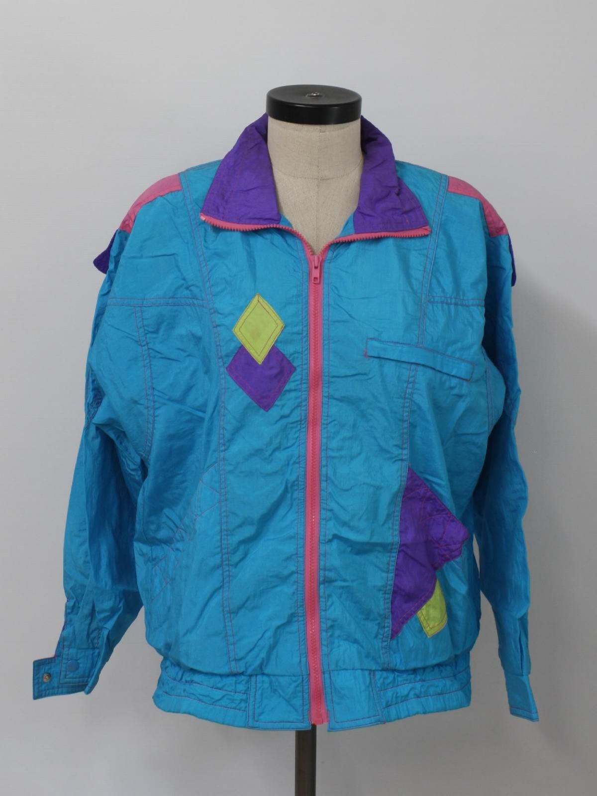 47a9a18db3f Retro 1980s Jacket  80s -Fashion Crossroads- Womens teal blue ...