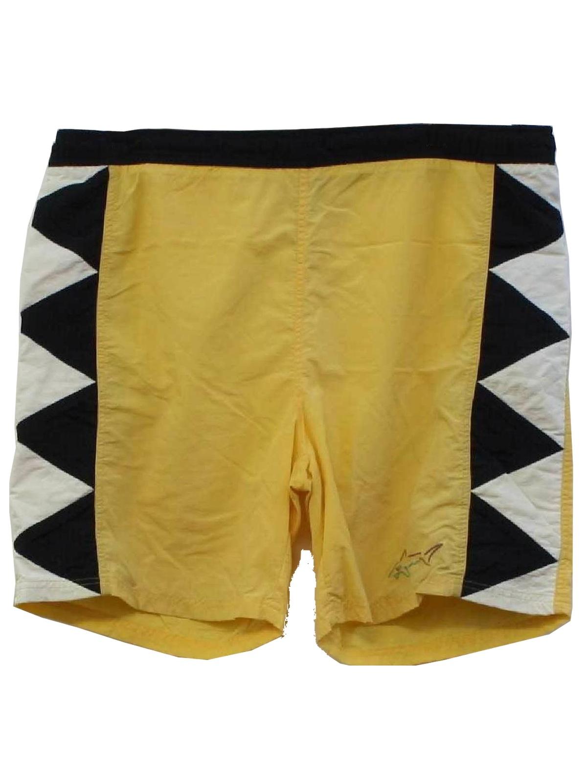 b3f13def14 Retro 90's Swimsuit/Swimwear: 90s -Greg Norman- Mens yellow background with  black and white side seam zig zag design nylon, polyester mesh brief lined  swim ...