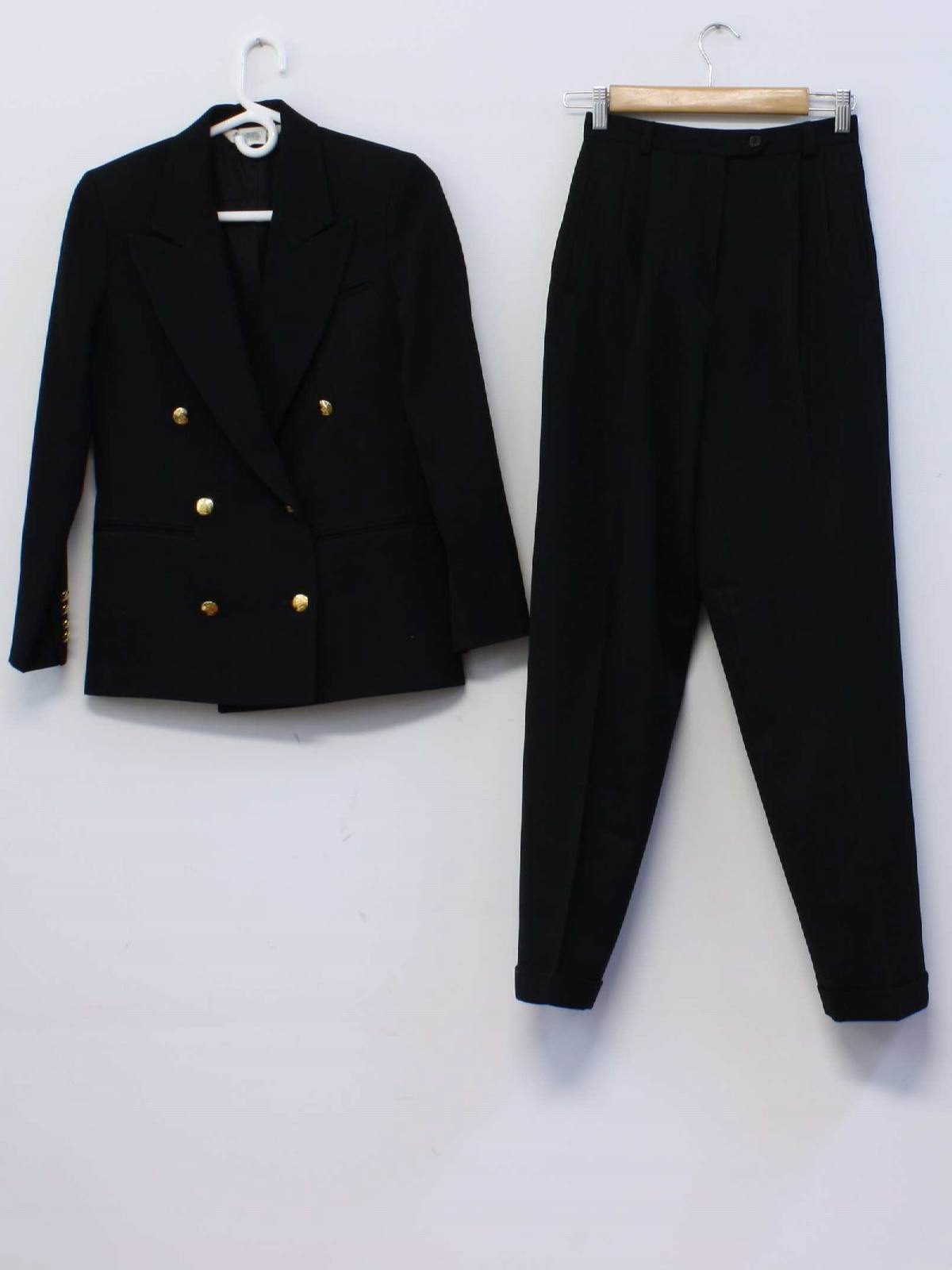 Austin Reed Petite Made In Usa 80 S Vintage Suit 80s Austin Reed Petite Made In Usa Womens Black Background Wool Blend Nylon Lined Two Piece Totally 80s Designer Pant Suit Double Breasted