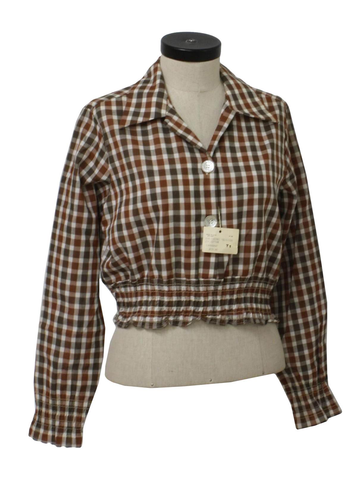 1970 39 s vintage wrangler western shirt early 70s wrangler for Ladies brown check shirt