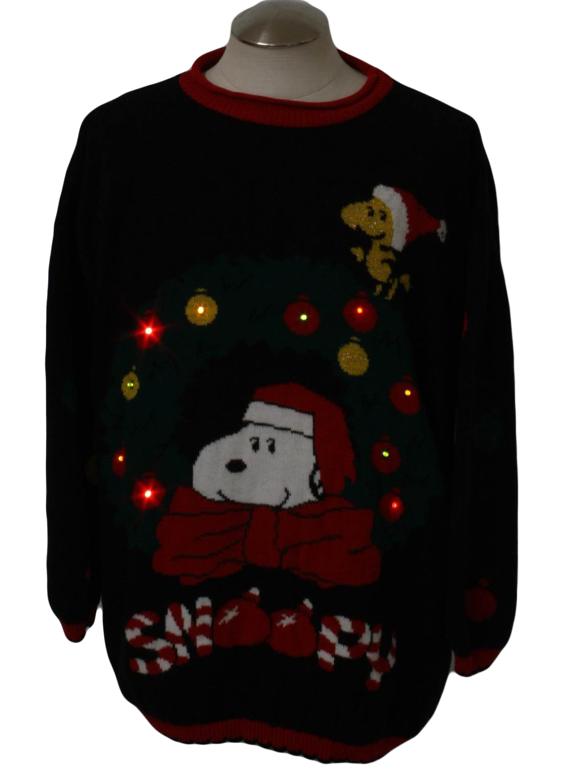 80s lightup snoopy ugly christmas sweater 80s authentic vintage made in the usa snoopy and friends unisex black background pullover acrylic light up