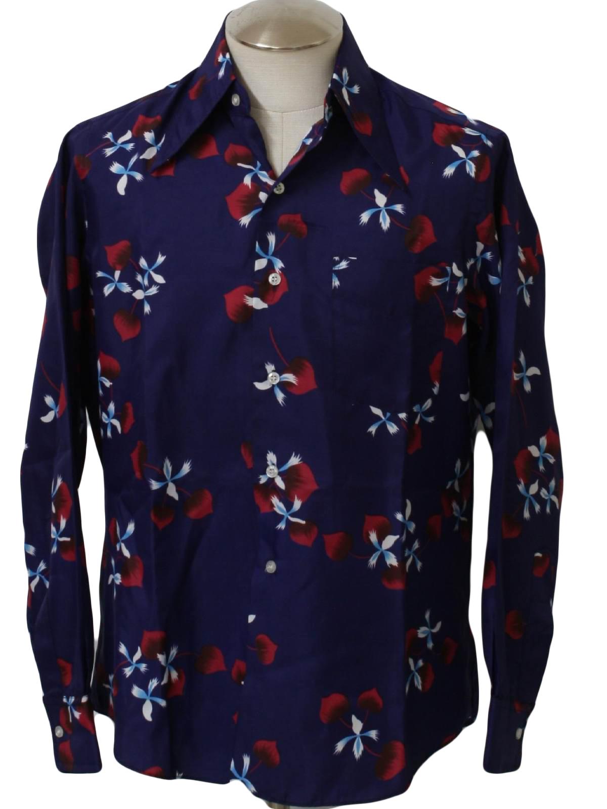 Retro 70 39 s print disco shirt 70s seymours fashions mens for Mens dress shirts with cufflink holes