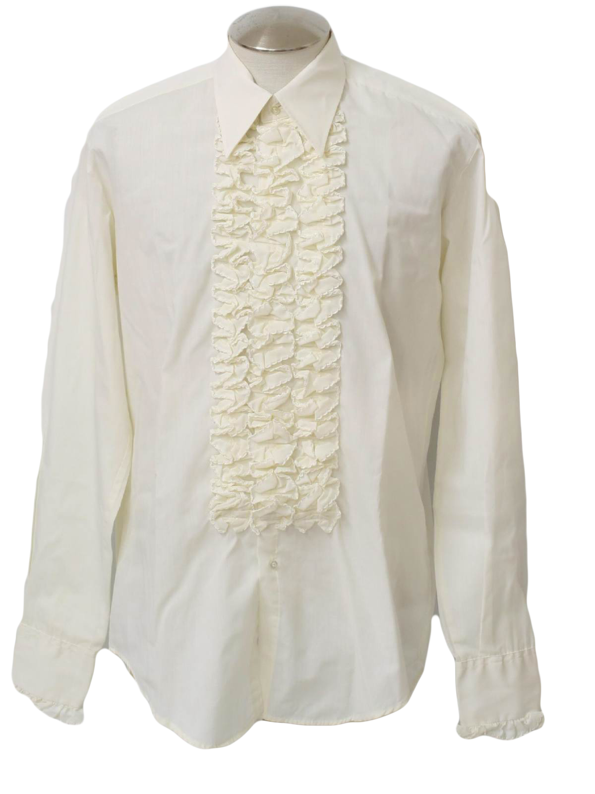1970 39 S Retro Shirt 70s After Six Mens Ivory Polyester
