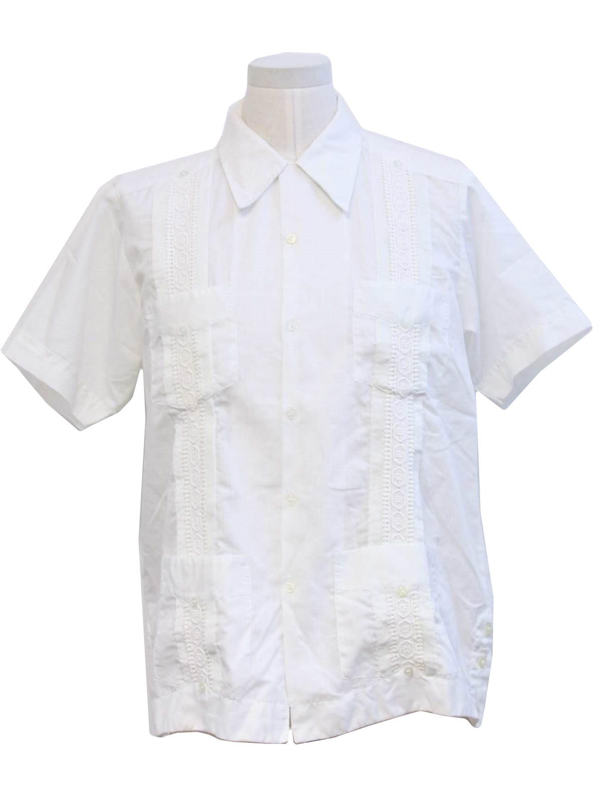 Tony 80 39 s vintage guayabera shirt 80s tony mens white for Tony collar dress shirt