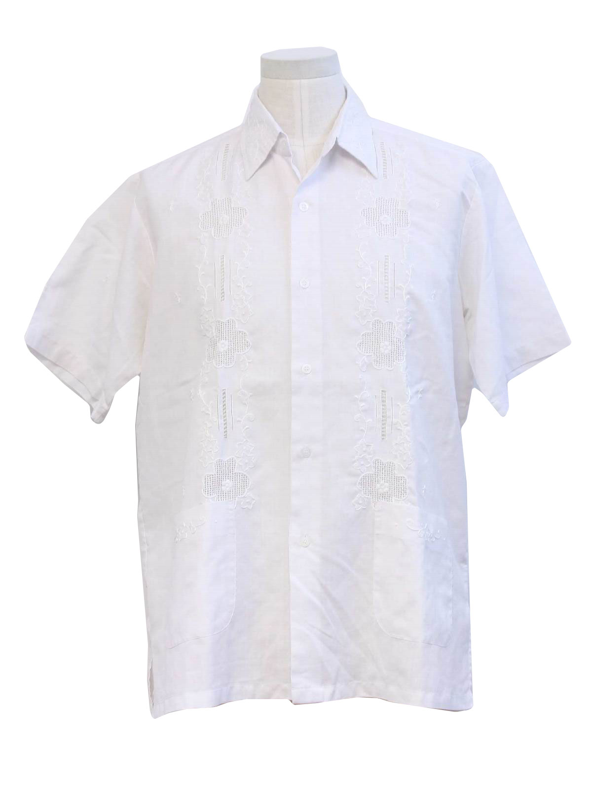 Vintage 1980 S Guayabera Shirt 80s Red Horse Mens White
