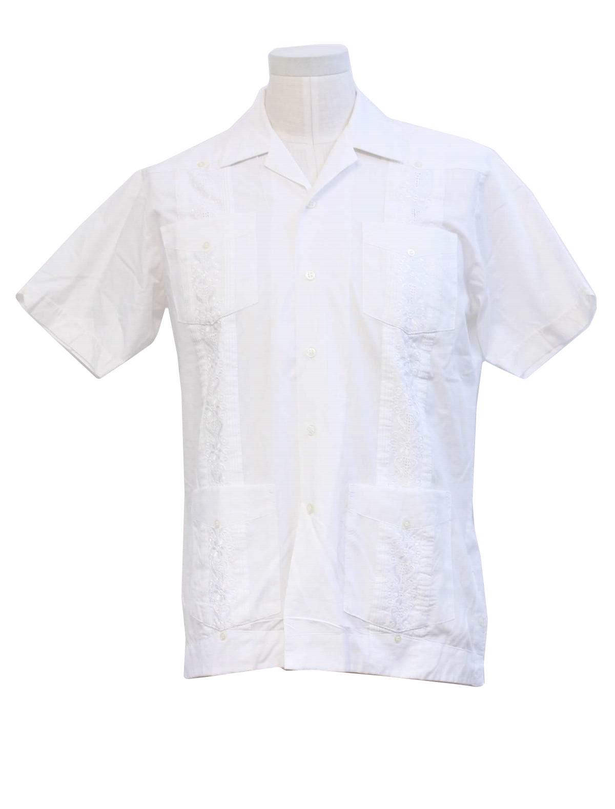 Mexican Wedding Shirt | 80 S Vintage Guayabera Shirt Romani Mens White Cotton And