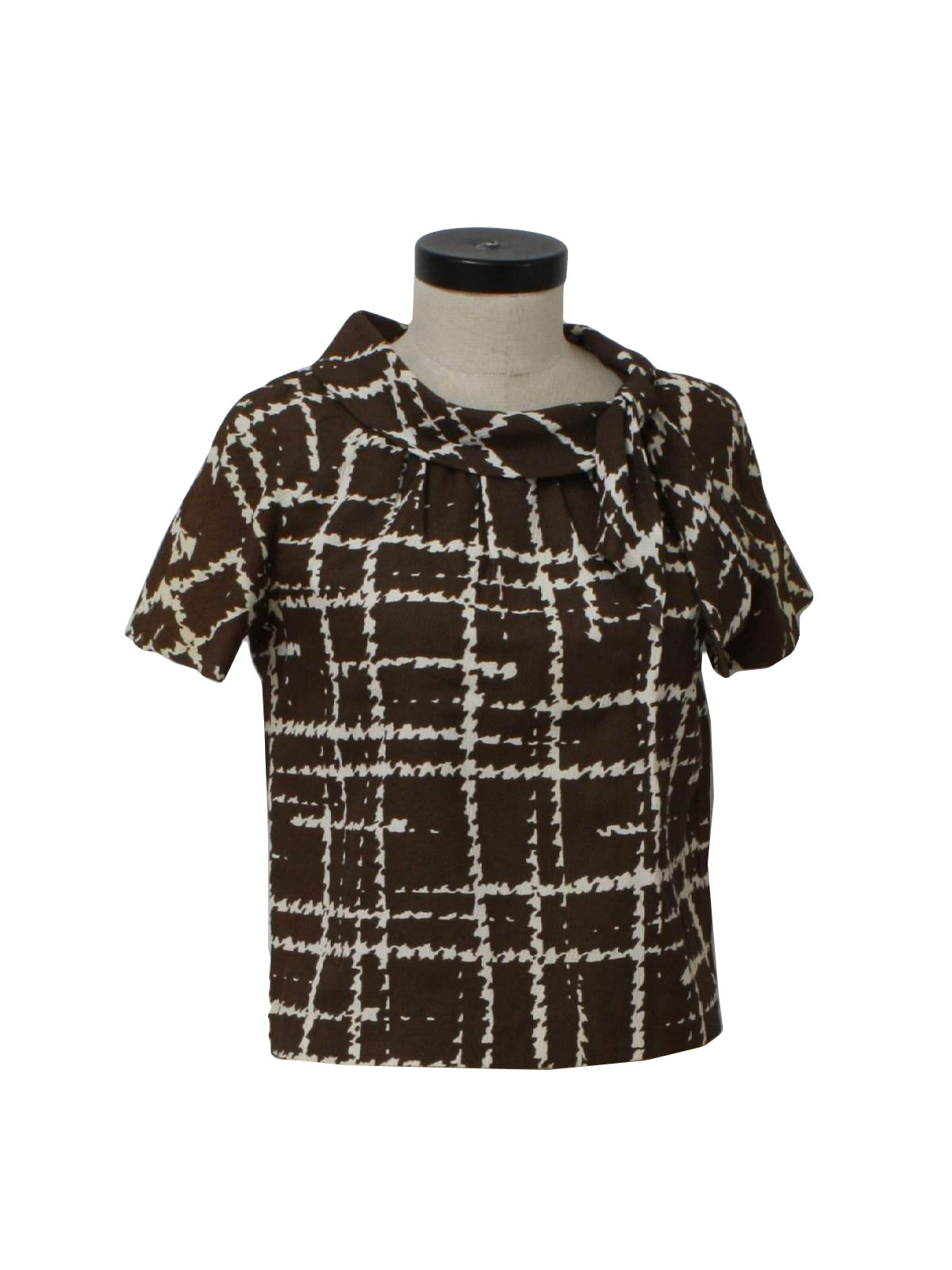 Vintage 60s shirt 60s puritan forever young womens dark for Ladies brown check shirt