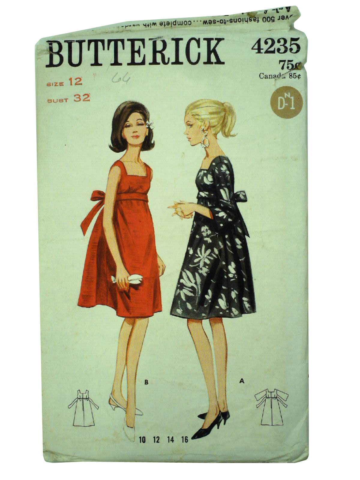 Vintage 1960u0027s Sewing Pattern 60s -Butterick 4235- Womens one-piece mod empire style tent dress pattern with back tie self-belt.  sc 1 st  Rusty Zipper & Vintage 1960u0027s Sewing Pattern: 60s -Butterick 4235- Womens one ...