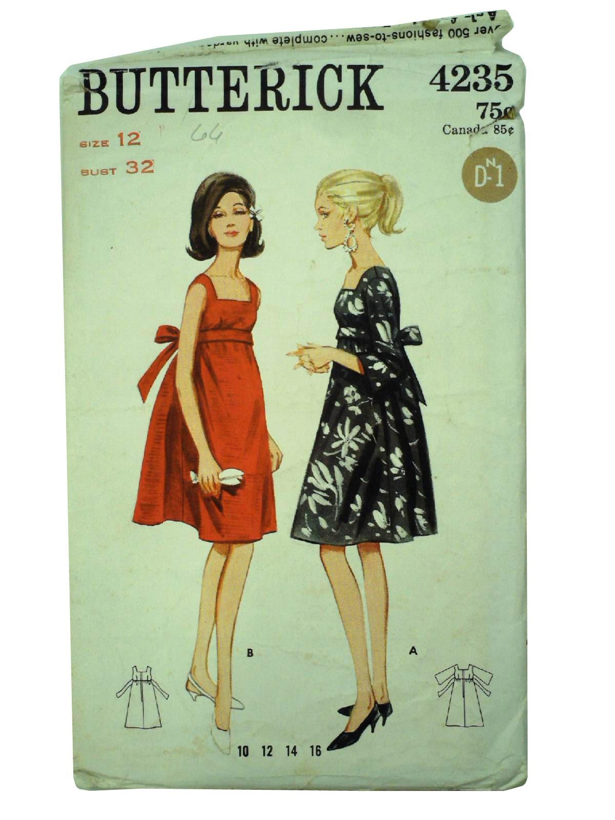 Vintage 1960u0027s Sewing Pattern 60s -Butterick 4235- Womens one-piece mod empire style tent dress pattern with back tie self-belt.  sc 1 st  Rusty Zipper & Vintage 1960u0027s Sewing Pattern: 60s -Butterick 4235- Womens one ...