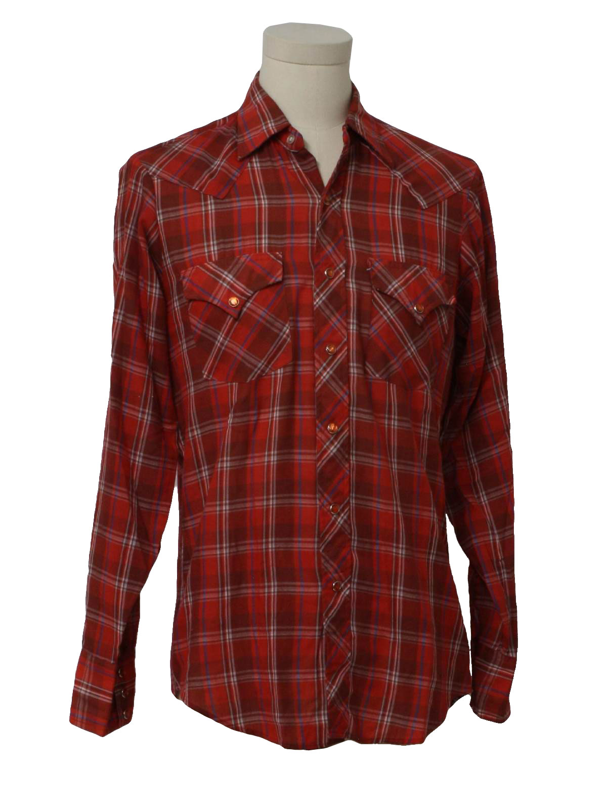 80 39 S Vintage Western Shirt 80s Sears Mens Red With