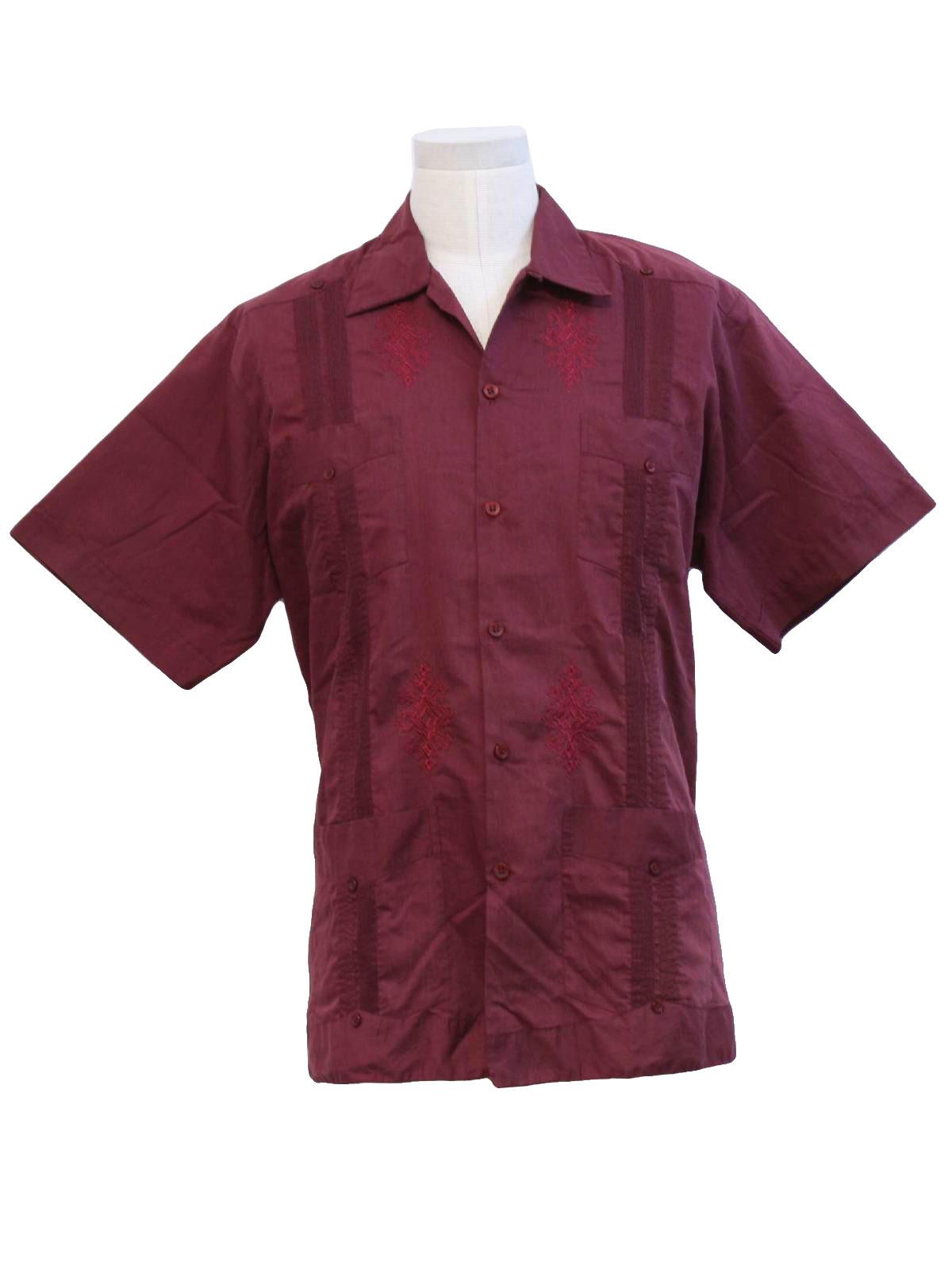 f99208087d Retro 80 s Guayabera Shirt  80s -Guayaberas Yucatecas- Mens dark ...