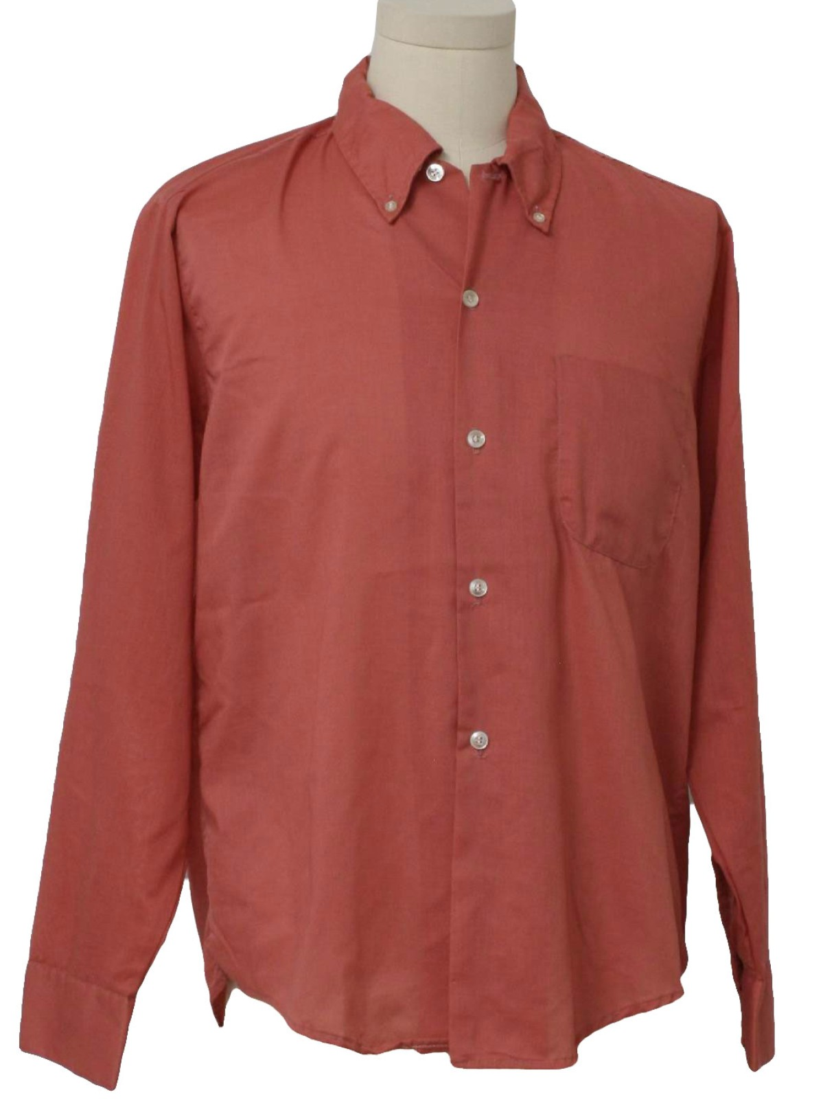 Retro Seventies Shirt Early 70s Care Label Mens Salmon Pink