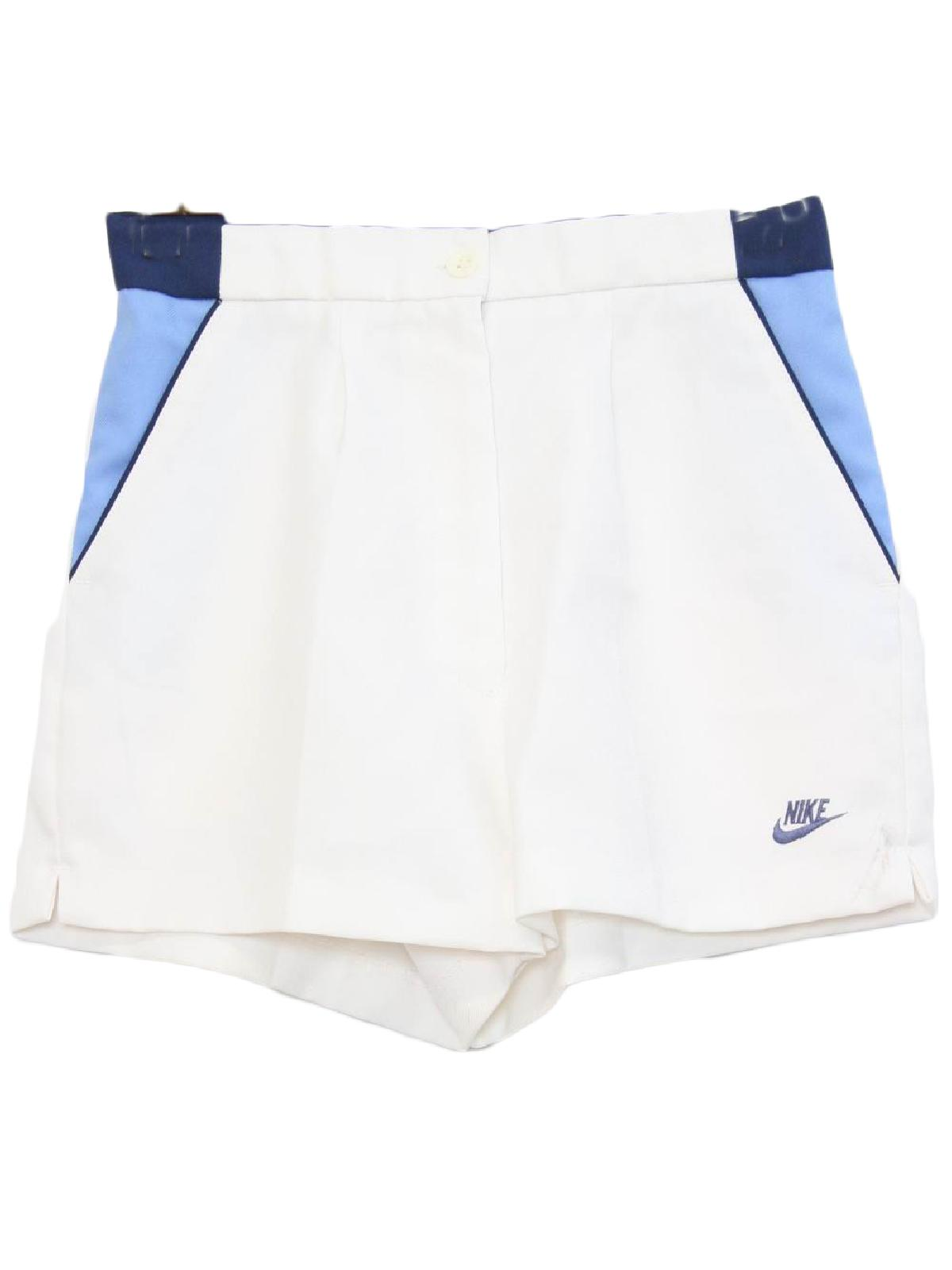80s Vintage Nike Shorts  80s -Nike- Womens white with blue on blue ... 95b43ab5a