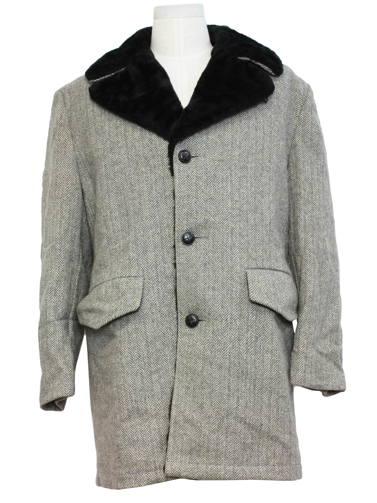 Sixties Vintage Jacket: 60s -Shanhouse- Mens grey and off white