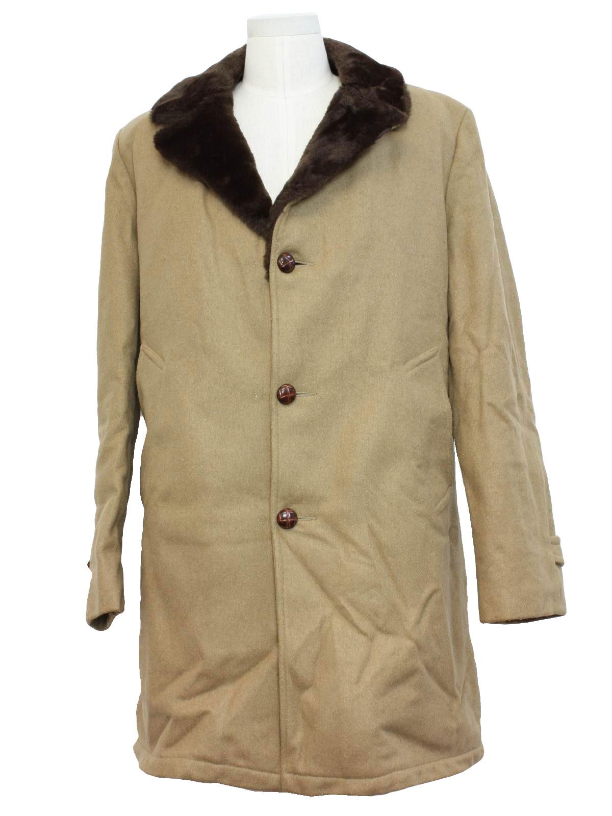 Vintage 1960's Jacket: 60s -Lakeland- Mens dark camel colored ...