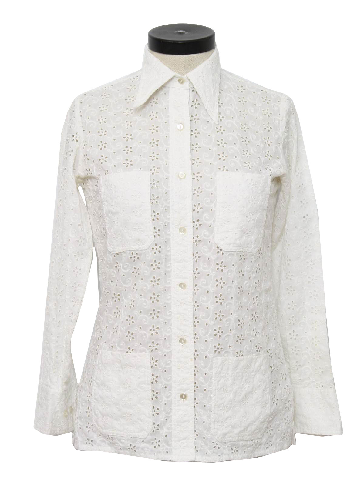 Retro 1970 39 s shirt neiman marcus 70s neiman marcus for Mens eyelet collar dress shirts