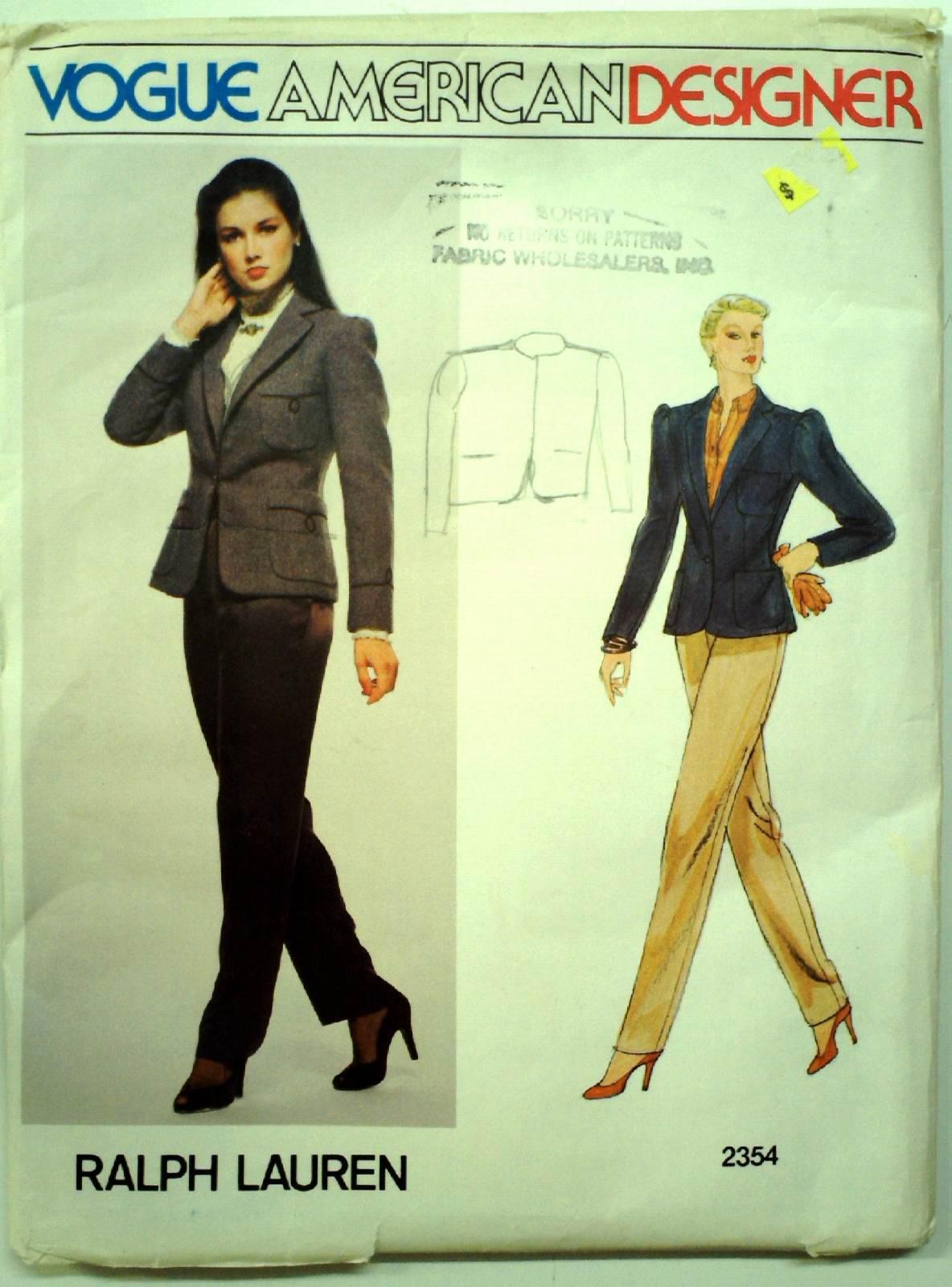 80 S Vogue Pattern No 2354 Sewing Pattern 80s Vogue