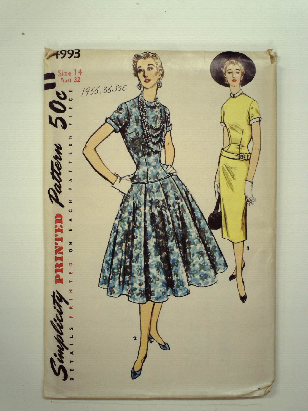 1950 39 s vintage simplicity pattern no 4993 sewing pattern for Simplicity craft pattern 4993