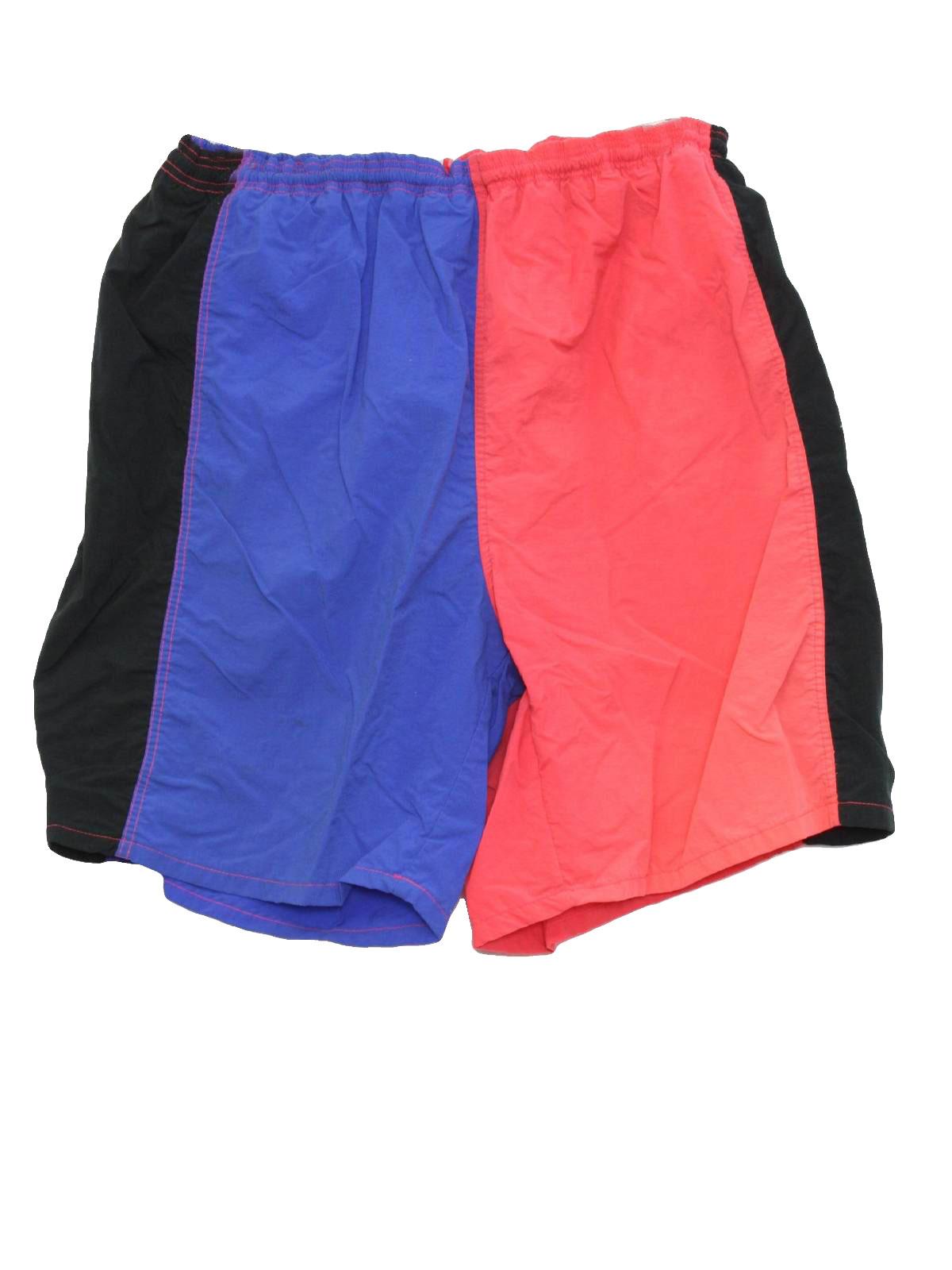 c7a48ee825 Retro 90's Swimsuit/Swimwear: 90s -Cheetah, Mervyns- Mens neon coral ...