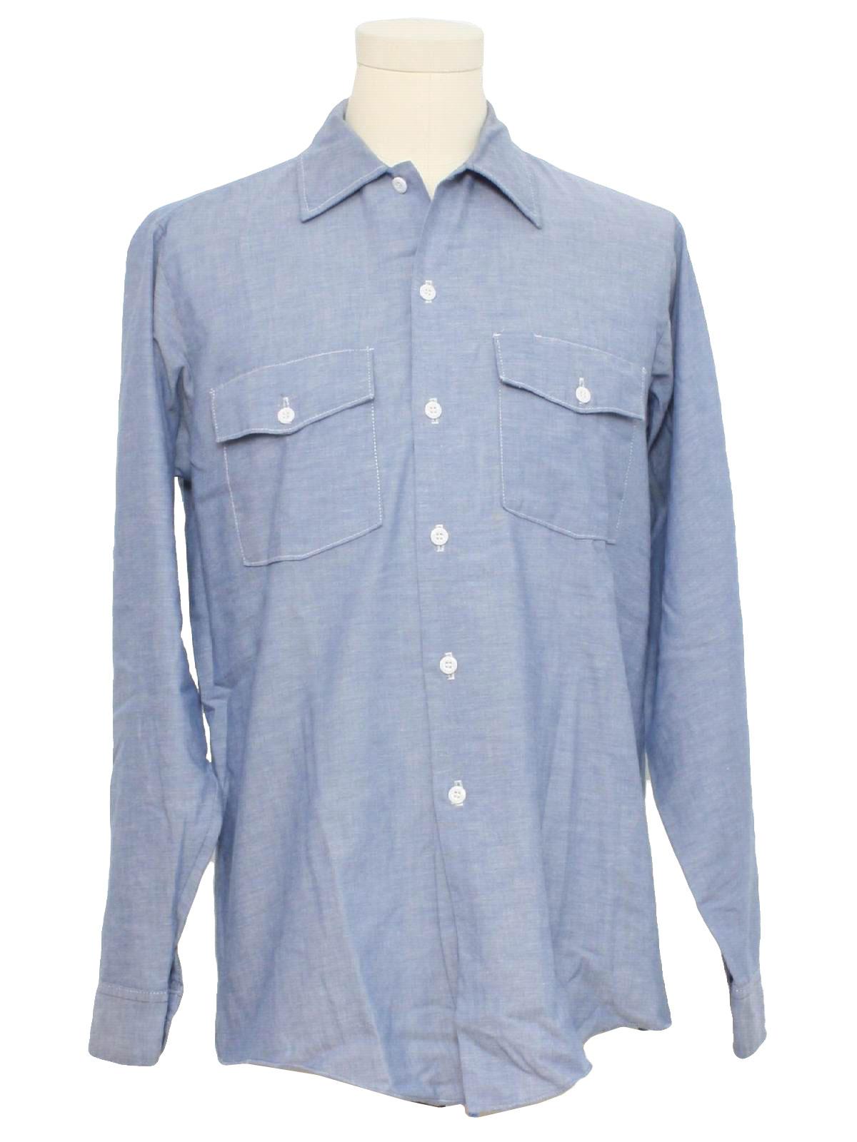 70s retro shirt 70s dickies mens light blue cotton and for Light blue work shirt