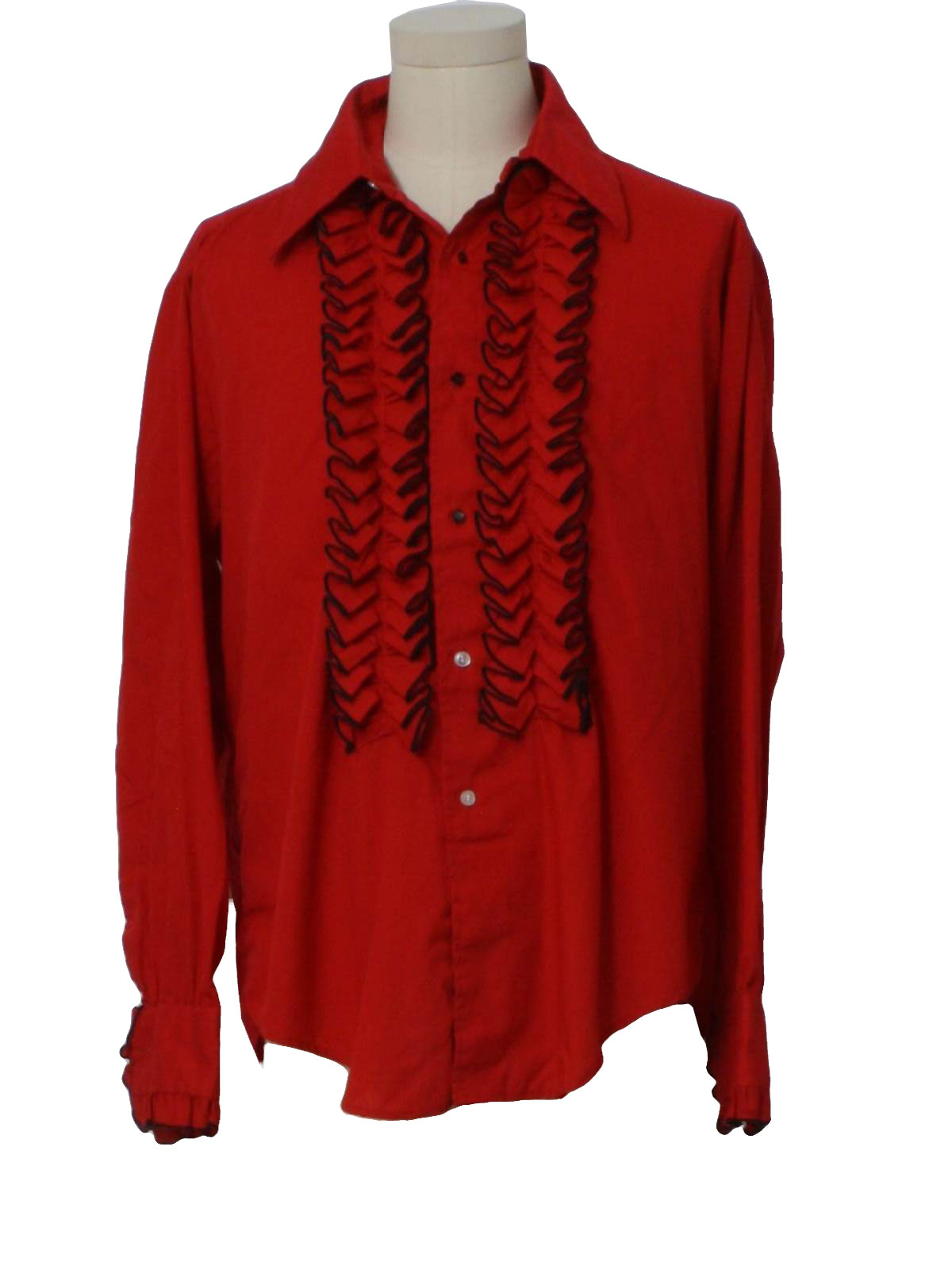 70s retro shirt 70s delton ny mens true red and black for Red ruffled tuxedo shirt