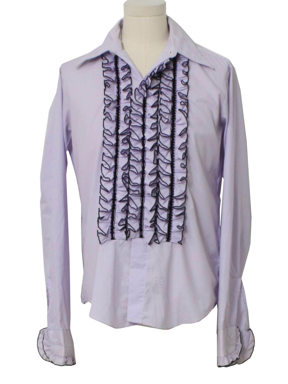 Retro 1970s shirt 70s palm beach mens lavender and for Mens shirts with cufflink holes