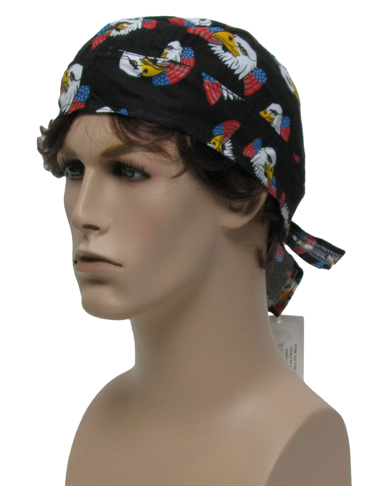 Head Wrap- Mens black background with red and white striping down 449b722c235