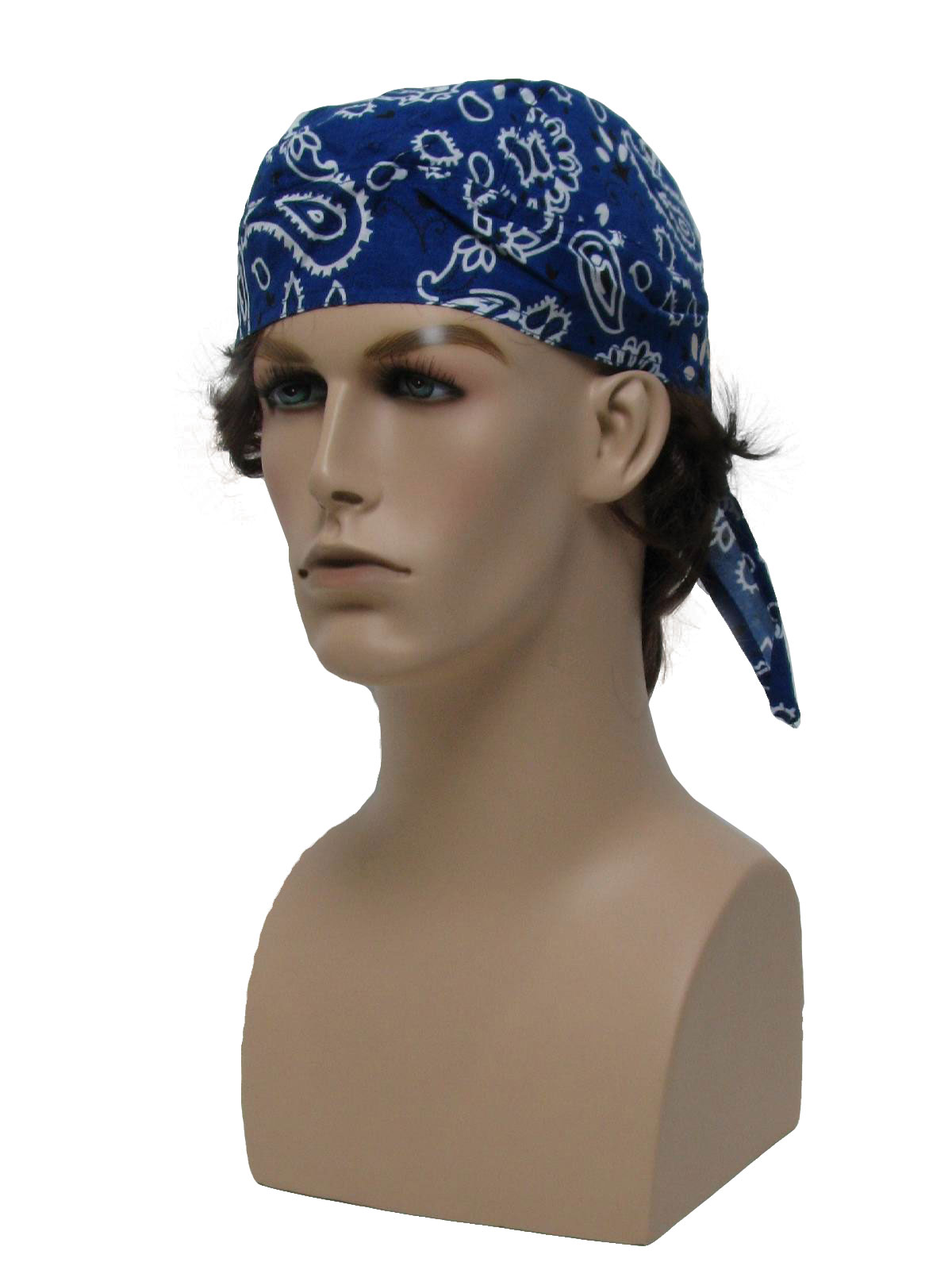 Head Wrap- Mens dark blue background with white and black paisley cb6b2880950