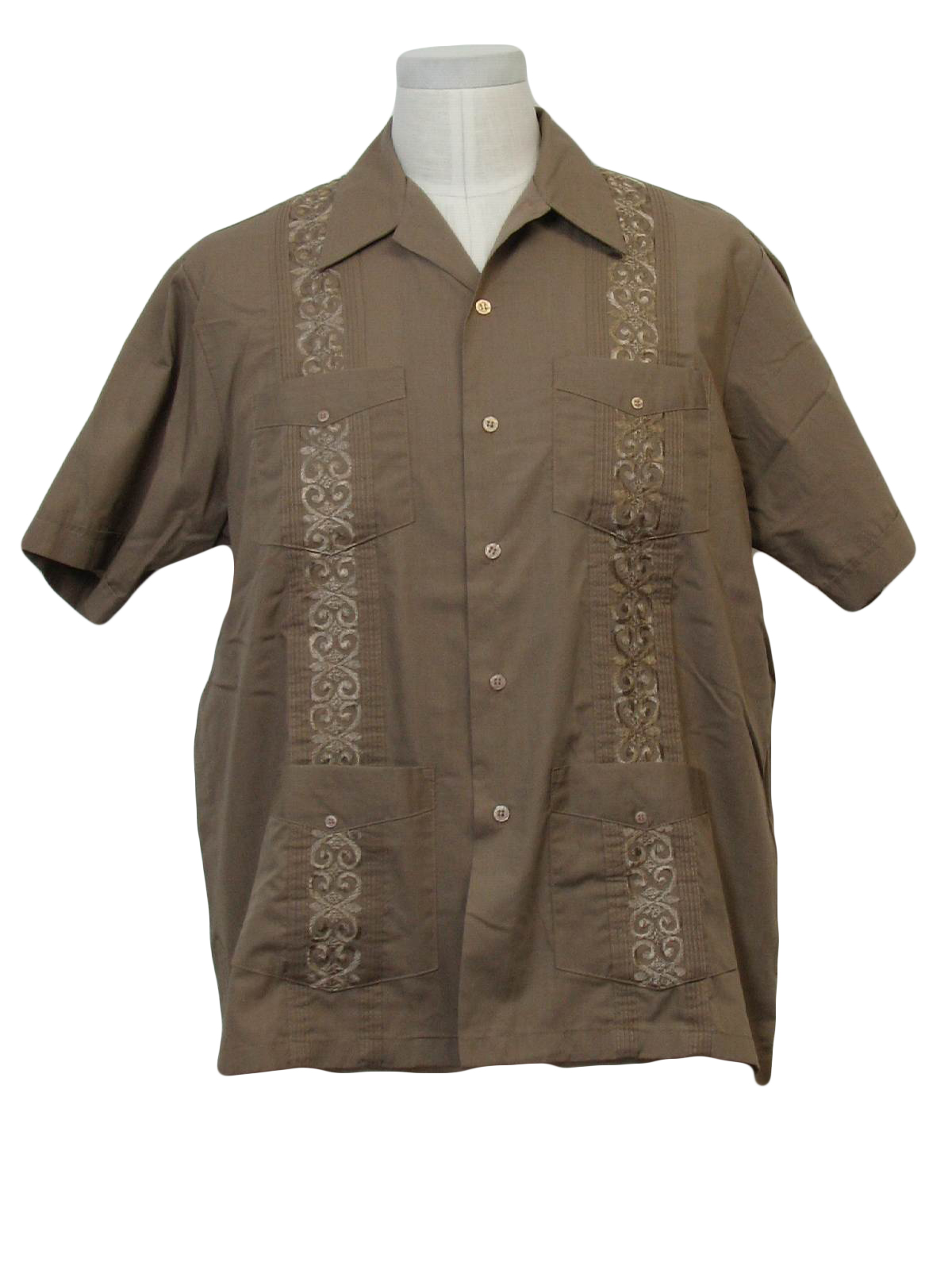1980 39 s retro guayabera shirt 80s haband mens chocolate for Mens chocolate brown shirt
