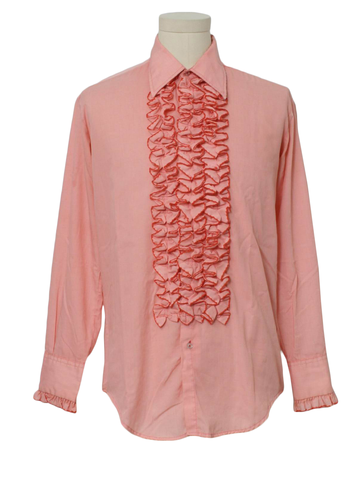 1970 39 s vintage after six shirt 70s after six mens pink for Red ruffled tuxedo shirt