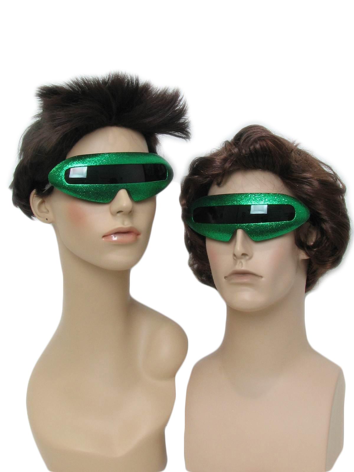 Green Look 1980's Unisex Stars Devo 80s Christmas Punk Totally Party Sunglasses Style Glittery Vintage zVSUpGLqM