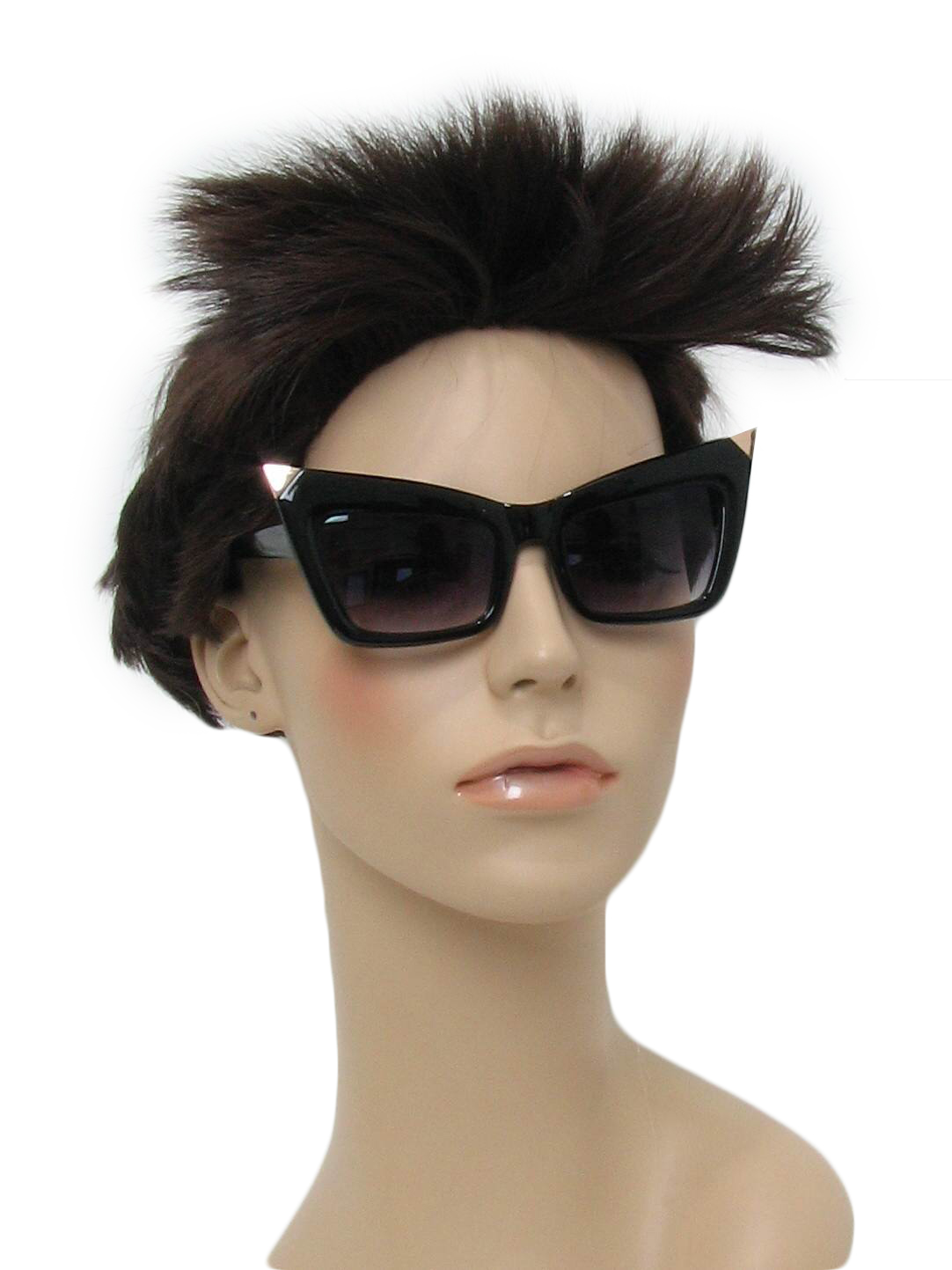 674ca52815 Glasses  80s Style -No Label- Womens black thick rimmed plastic totally 80s  sunglasses with gold pointy tips along the top of the glasses