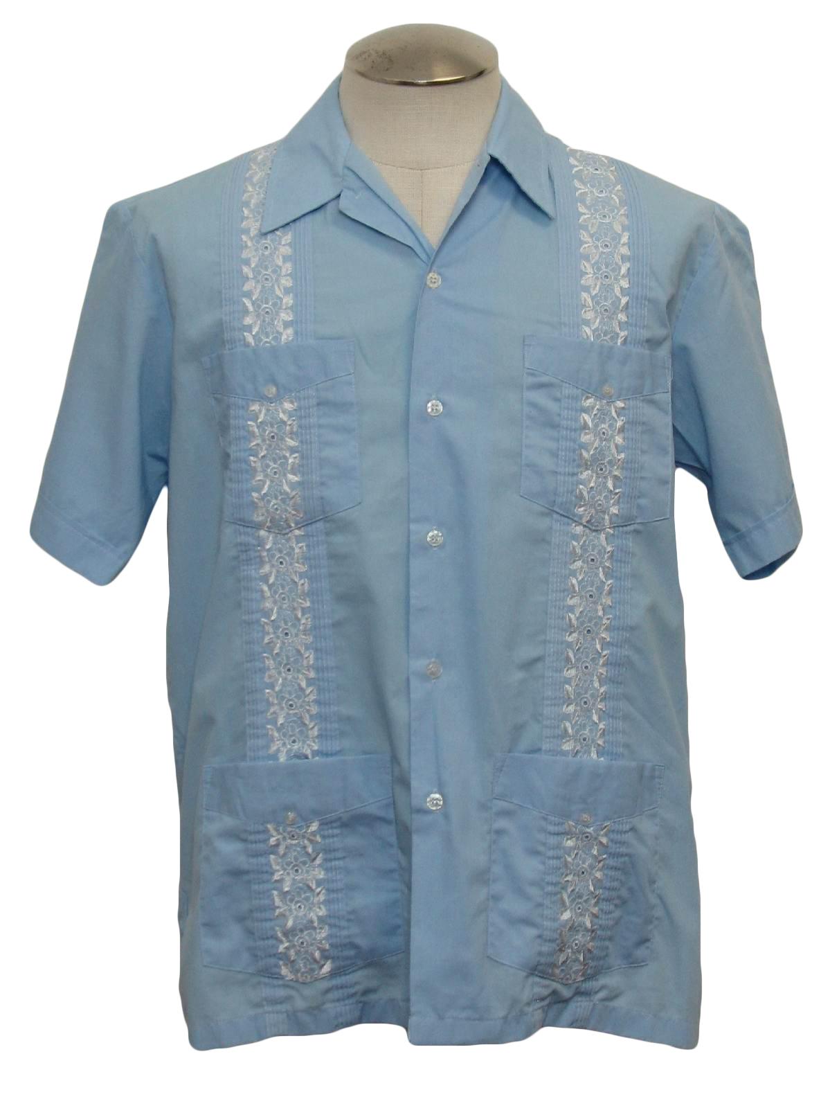 Retro 1980s Guayabera Shirt: 80s -Haband- Mens light blue ...