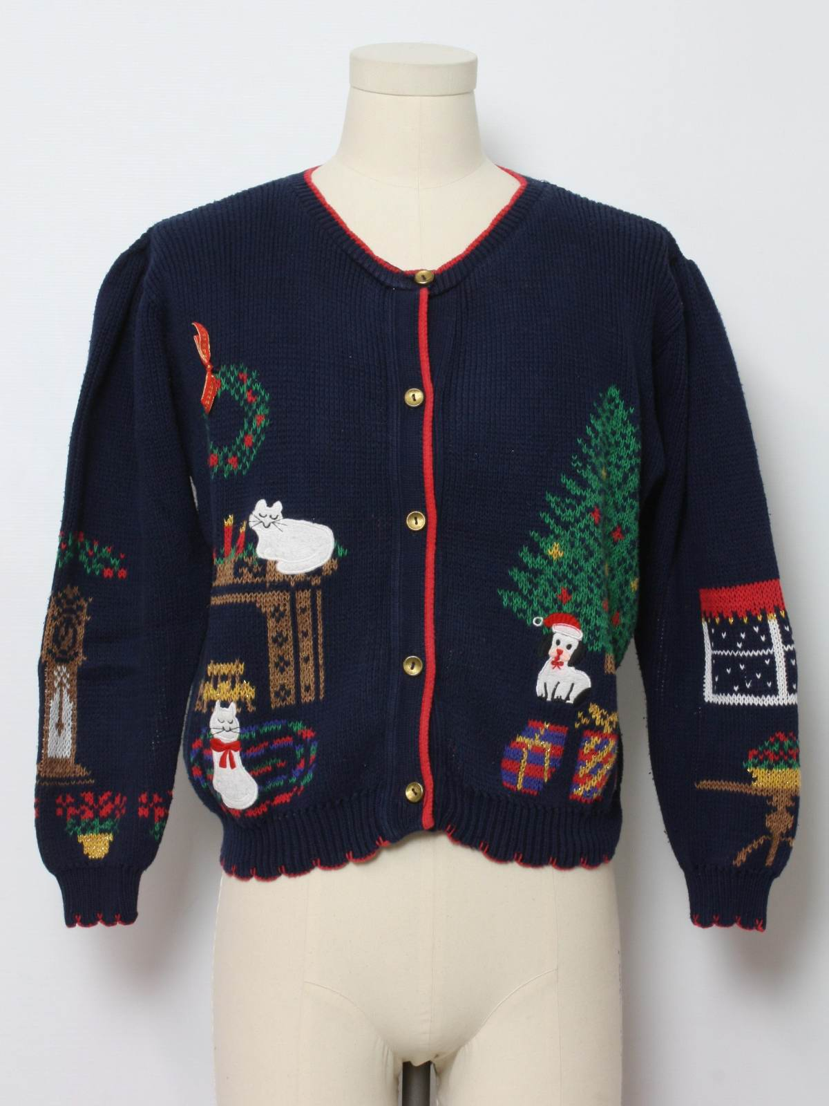 1980s Womens Cat Tastic Vintage Ugly Christmas Sweater 80s Authentic Vintage Made By Sweater
