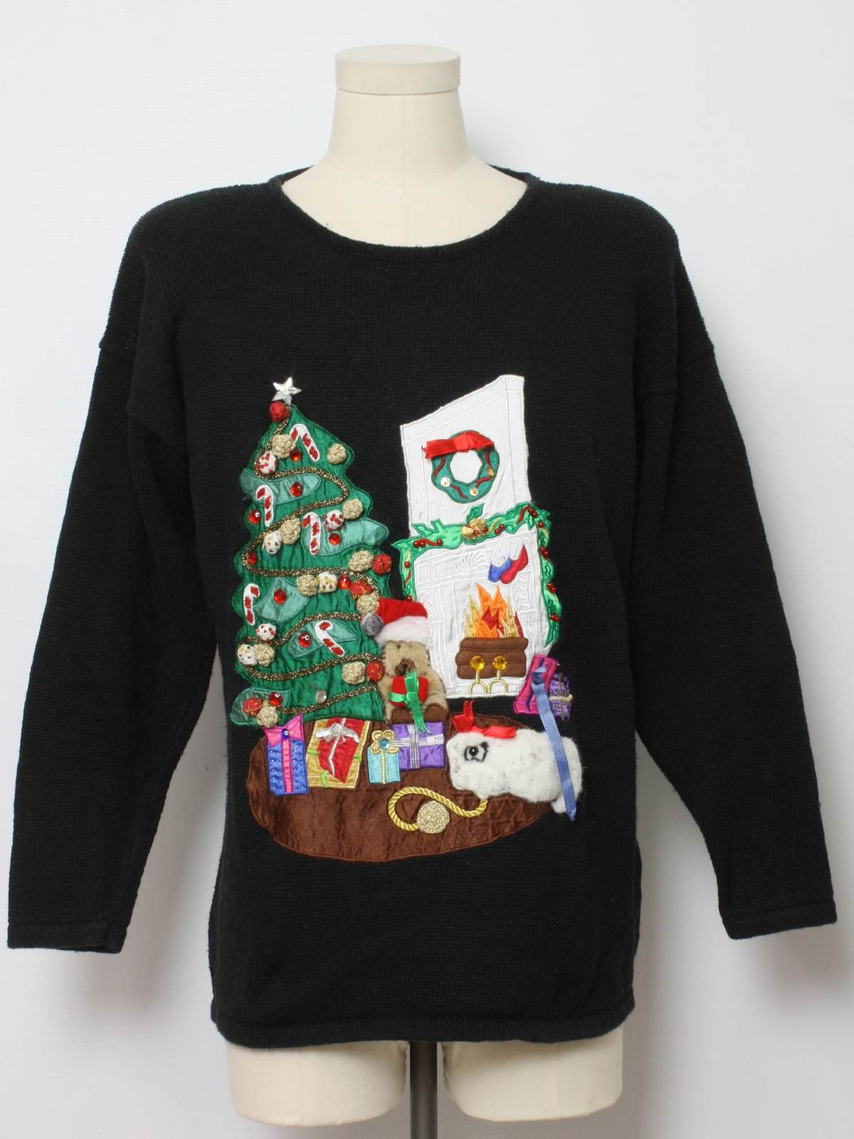 Ugly Christmas Sweater Work In Progress Unisex Black Background Cotton Ramie Blend Pullover